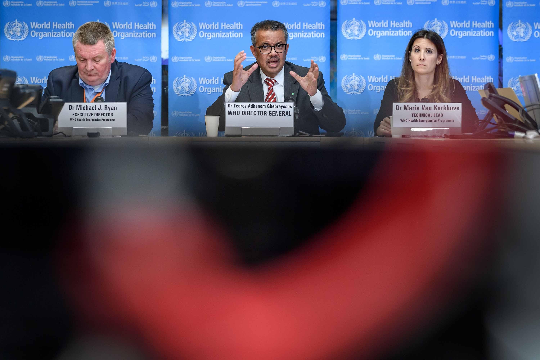 World Health Organization Director-General Tedros Adhanom Ghebreyesus, center, and addresses a daily press briefing on the novel coronavirus in Geneva, Switzerland, on March 11.