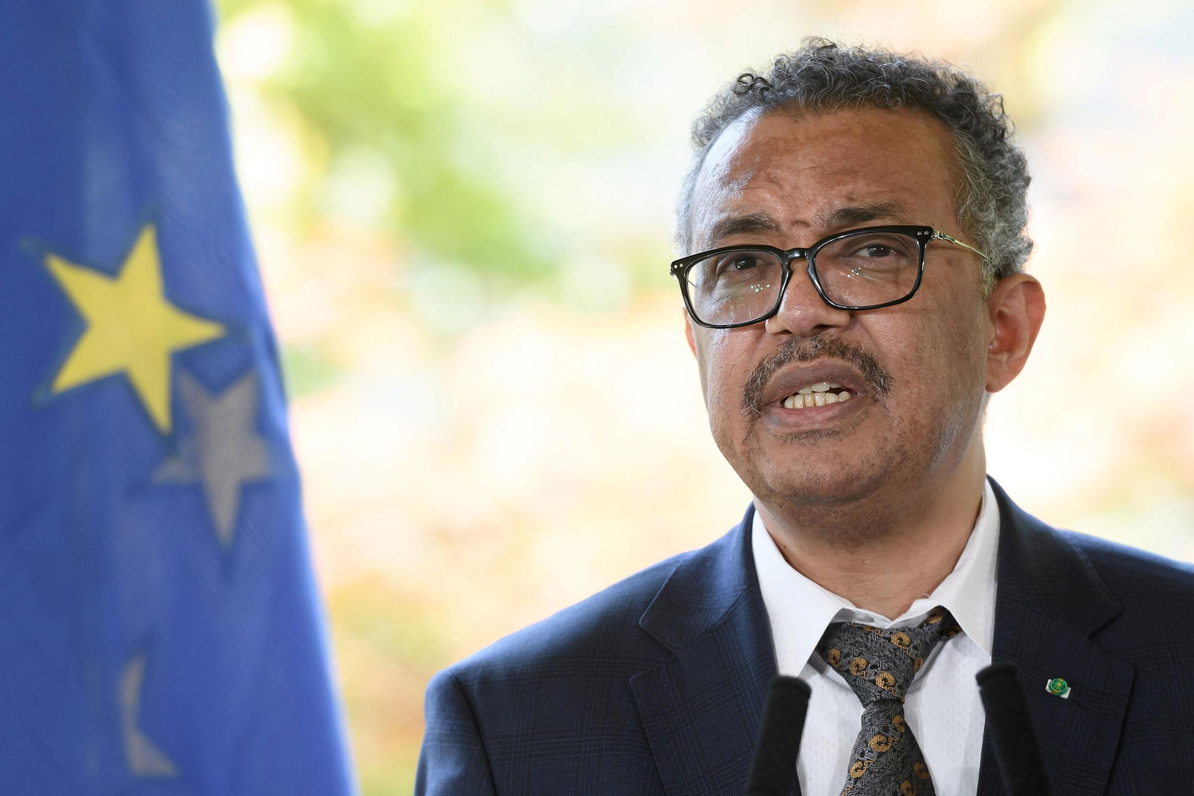 World Health Organization Director-General Tedros Adhanom Ghebreyesus speaks at a news conference on Thursday.