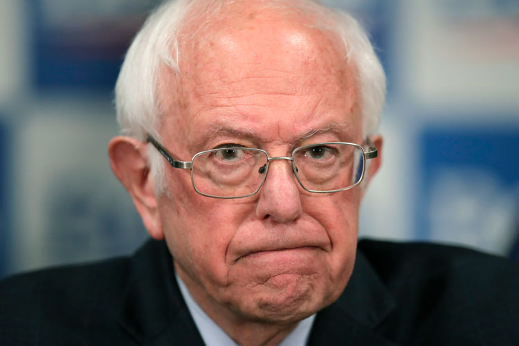Democratic presidential candidate, Sen. Bernie Sanders, I-Vt., speaks to reporters about coronavirus Thursday March 12, in Burlington, Vermont.