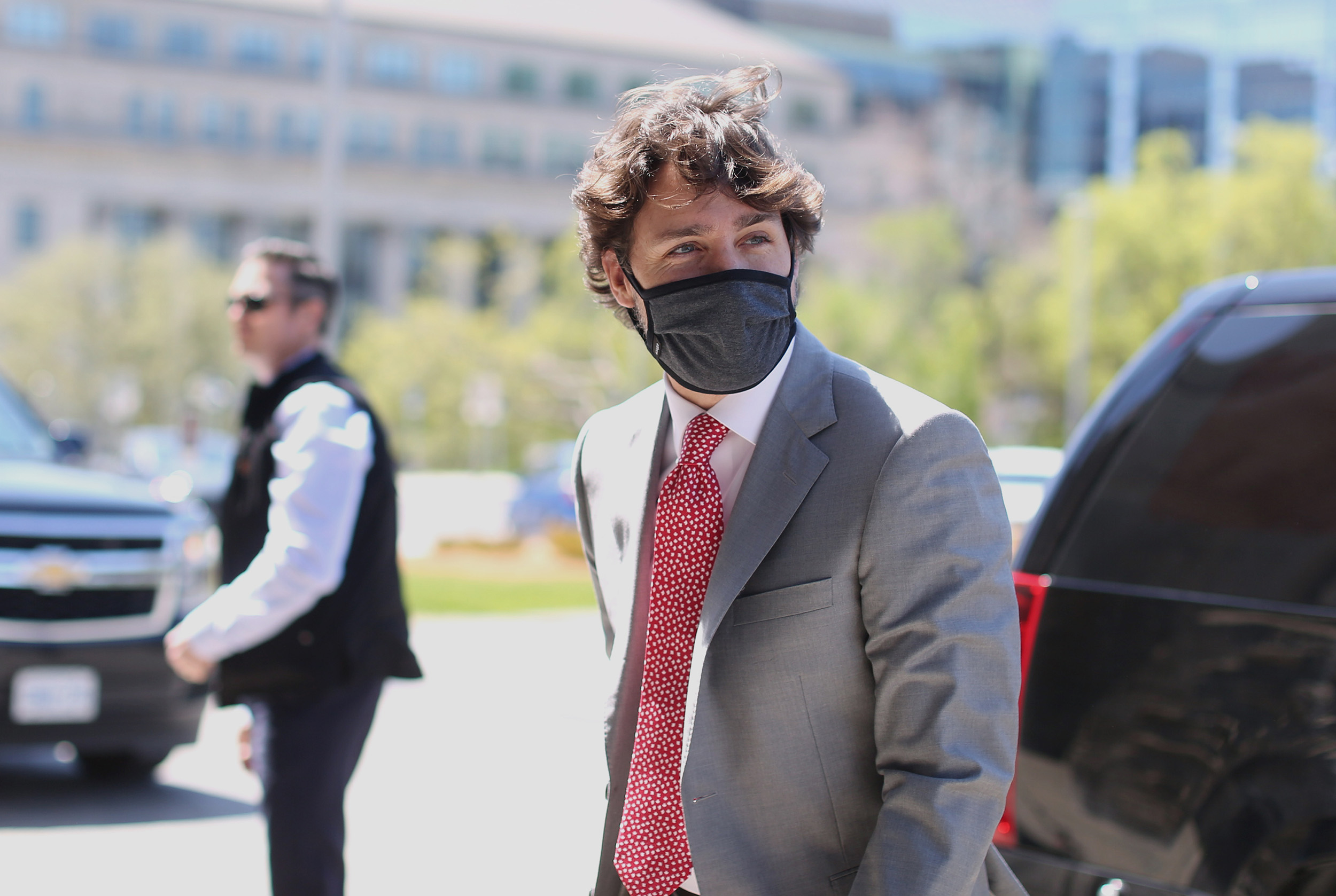 Canadian Prime Minister Justin Trudeau arrives on Parliament Hill to attend the Special Committee meeting on the COVID-19 global pandemic in Ottawa, Canada, on Wednesday, May 20.