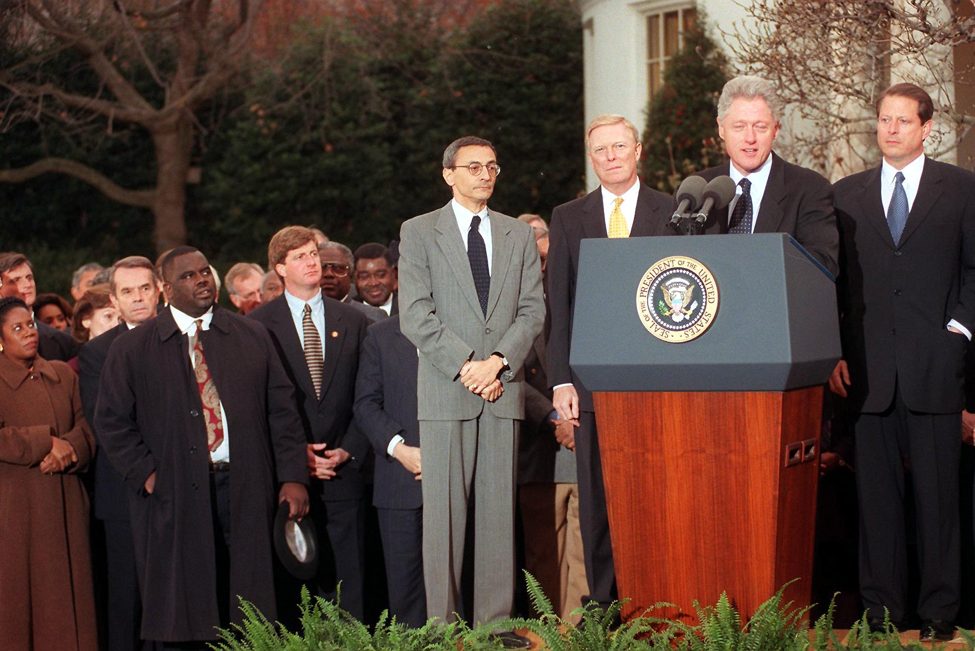 Bill Clinton addresses the nation from outside the White House on Dec. 19 1998 after the US House of Representatives impeached him.