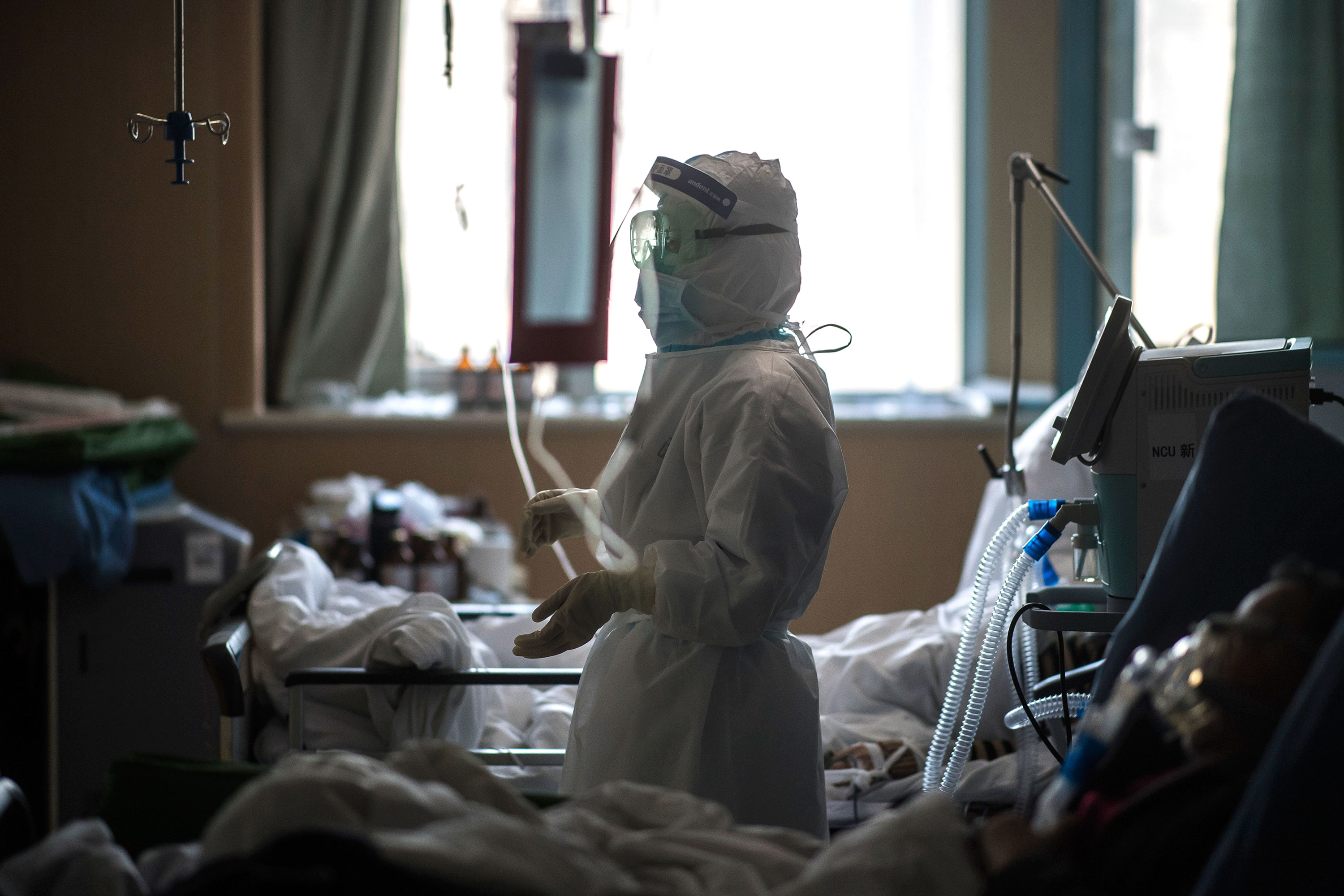 A nurse works in an ICU ward for patients infected by coronavirus in Wuhan, on February 22.