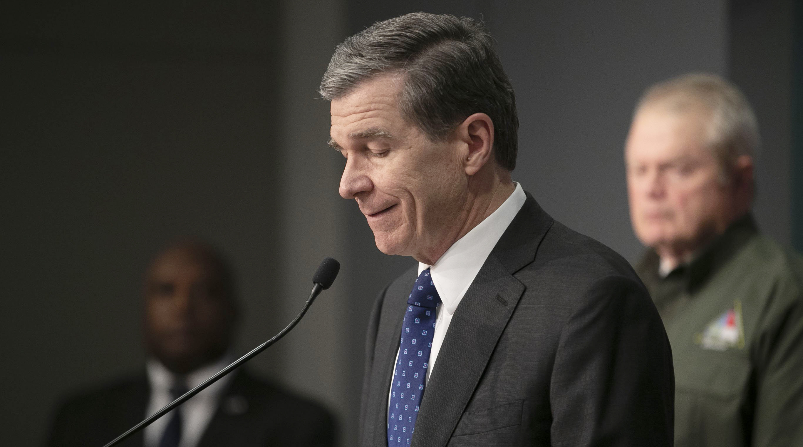 North Carolina Governor Roy Cooper announces the first deaths in the state from the COVID-19 virus in Raleigh, on Wednesday, March 25.