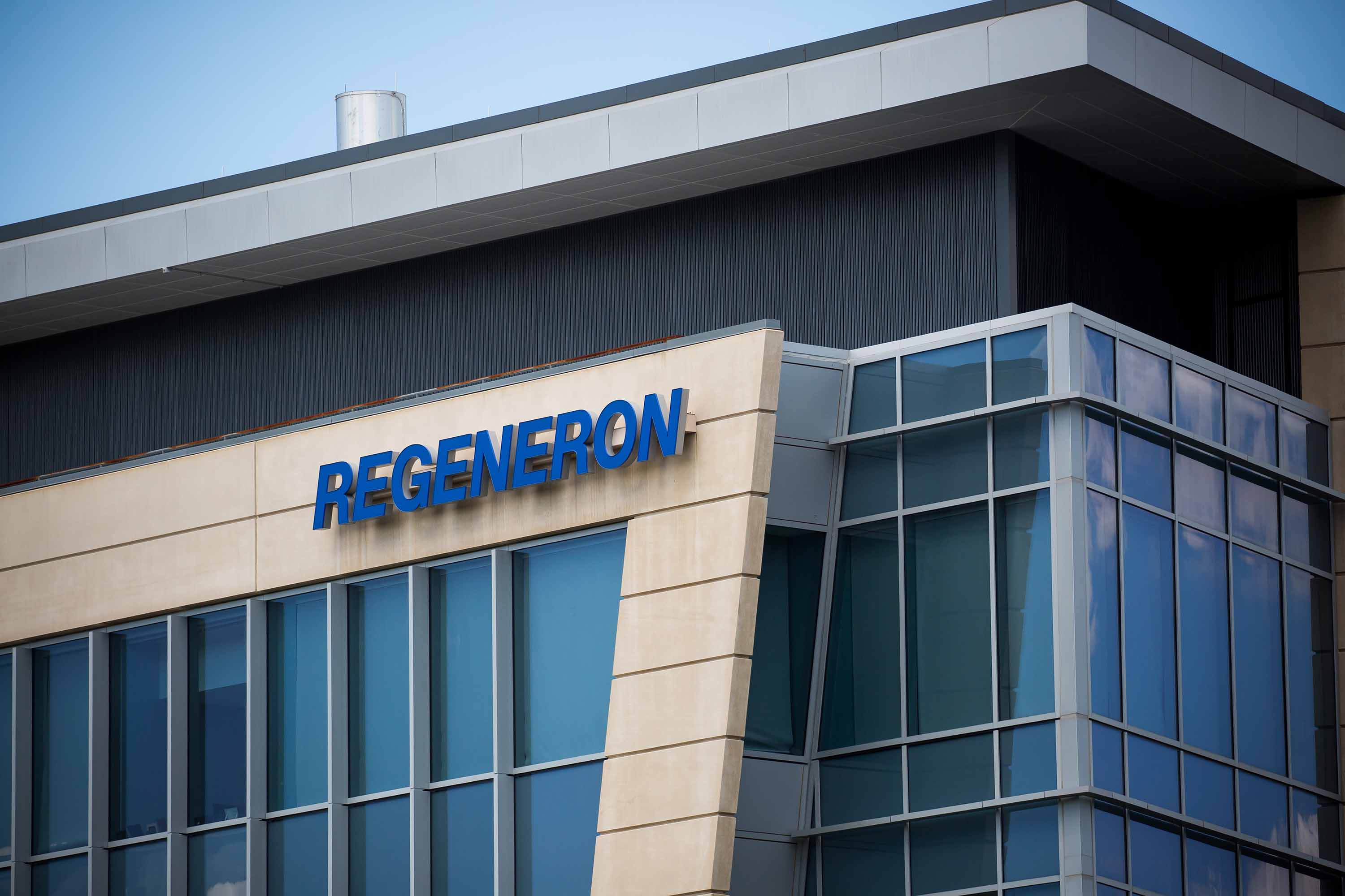 Regeneron Pharmaceuticals Inc. signage is displayed outside their headquarters in Tarrytown, New York, on June 12,