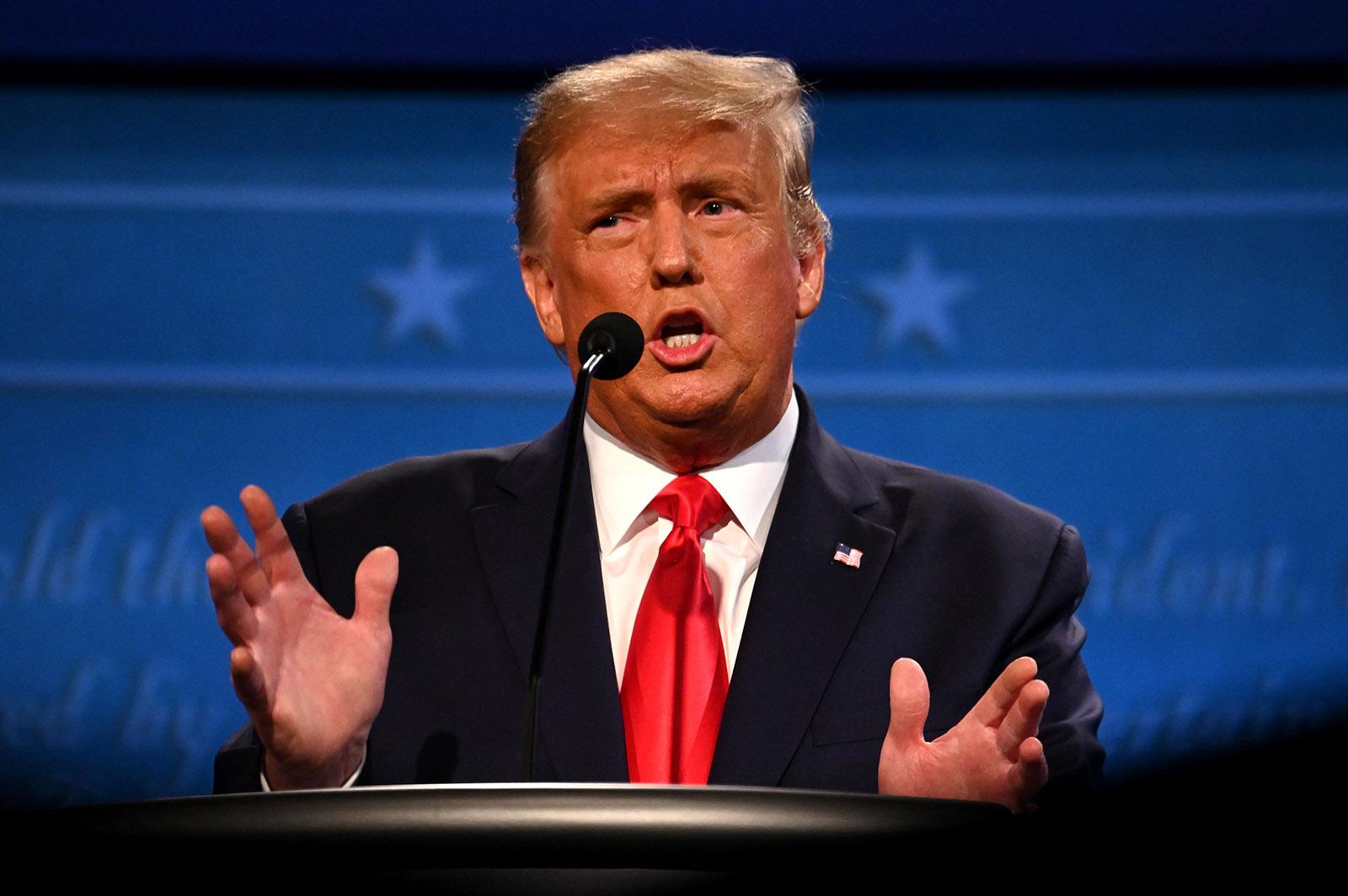 President Donald Trump gestures as he speaks during the final presidential debate at Belmont University in Nashville on Thursday.