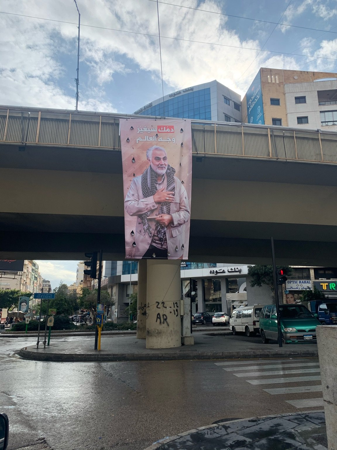 Posters of Soleimani are on display in the southern Beirut neighborhood of Dahiyeh, a Hezbollah stronghold.