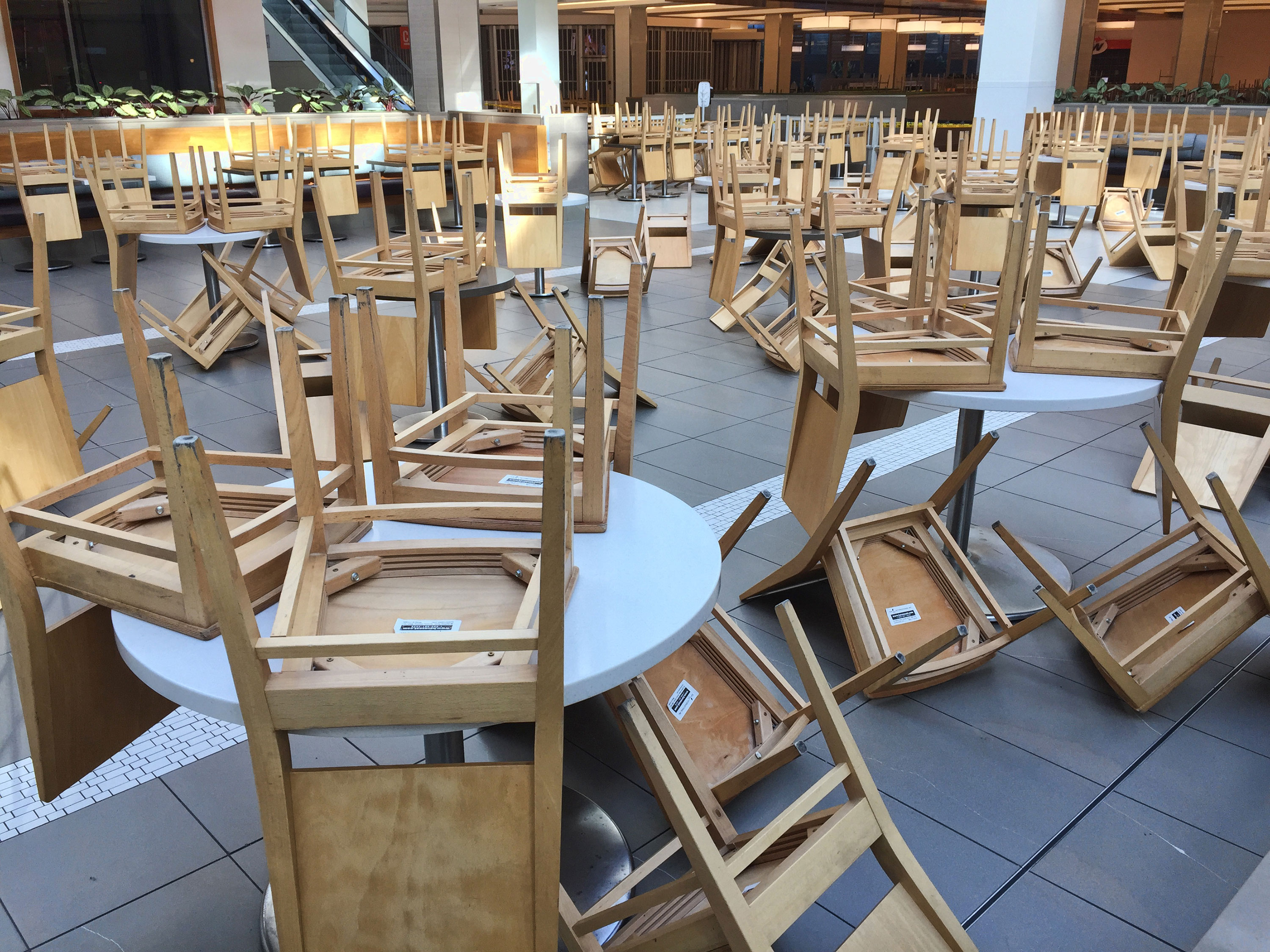 An empty food court in a shopping mall in Toronto on March 21.