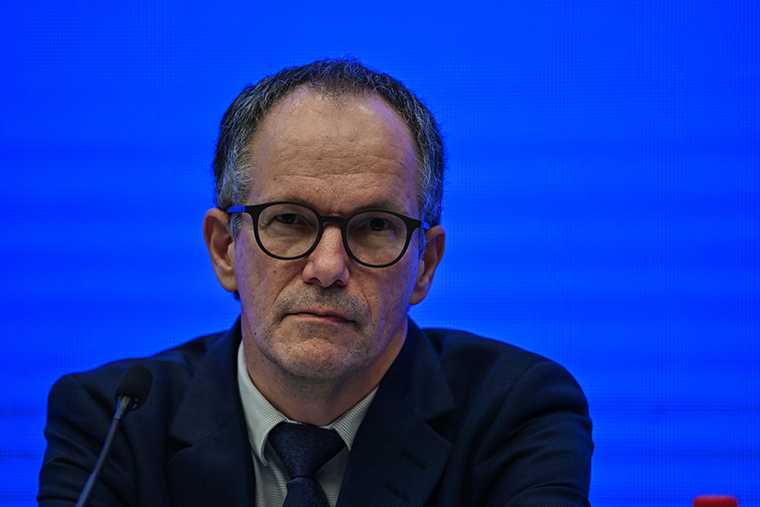 Peter Ben Embarek attends a press conference to wrap up a visit by an international team of experts from the World Health Organization (WHO) in the city of Wuhan, in China's Hubei province on February 9, 2021.