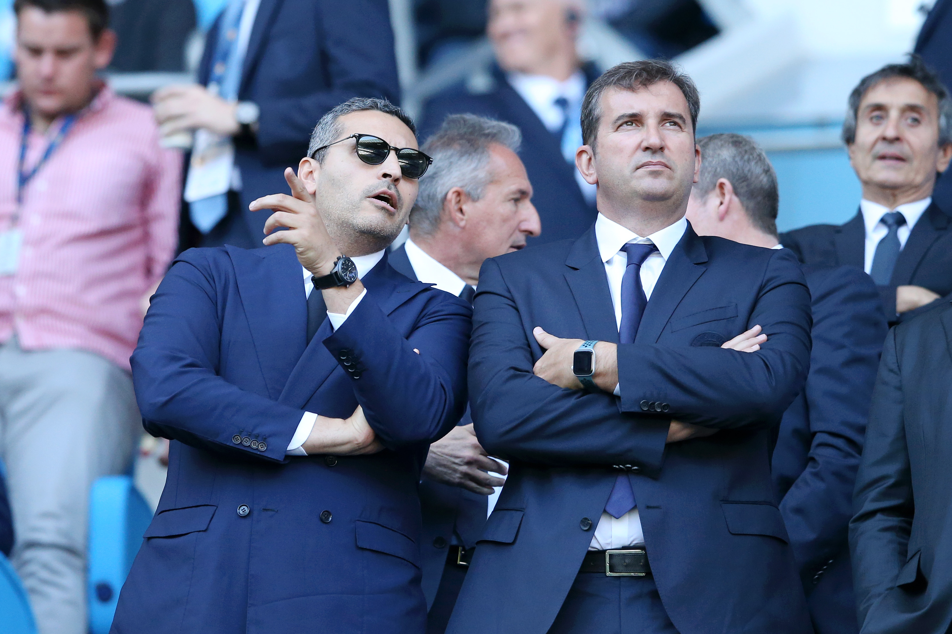 Khaldoon Al Mubarak, Chairman of Manchester City speaks to Ferran Soriano, Chief Executive Officer during the Premier League match between Manchester City and Watford FC at Etihad Stadium on September 21, 2019 in Manchester, United Kingdom.