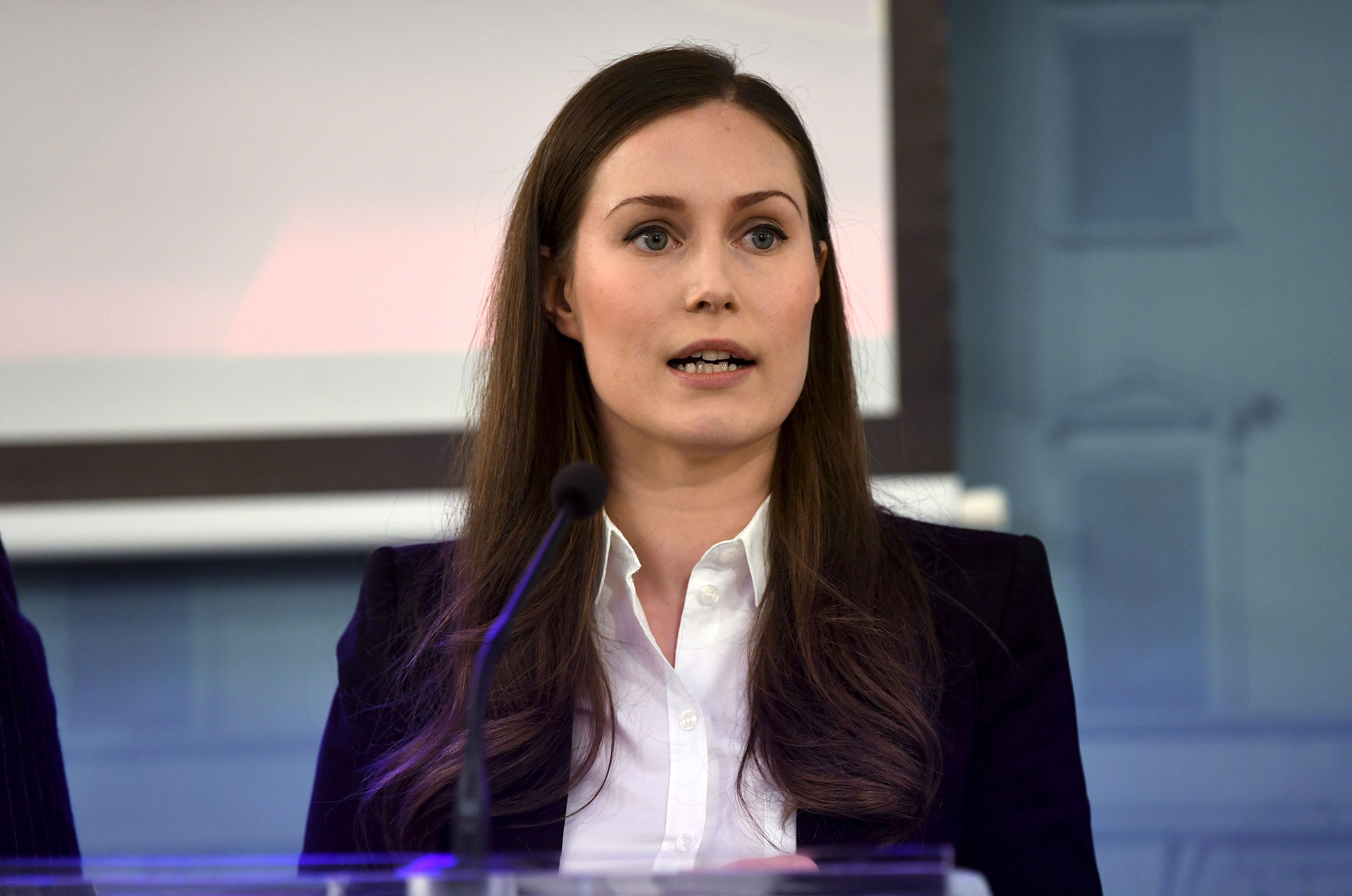 Prime Minister Sanna Marin speaks during a press conference on March 16.