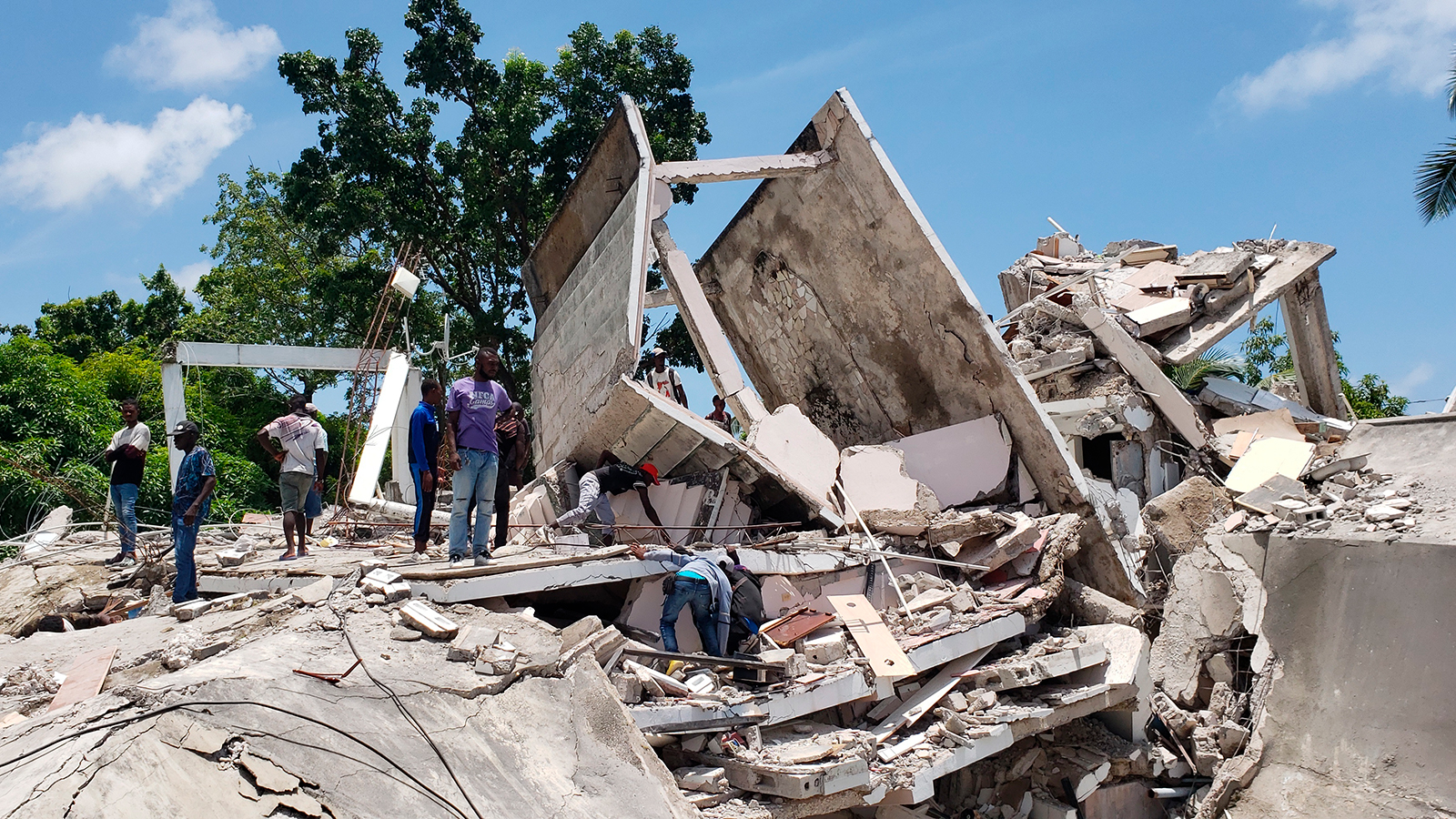 The residence of a Catholic bishop is damaged after the earthquake in Les Cayes, Haiti, on August 14.