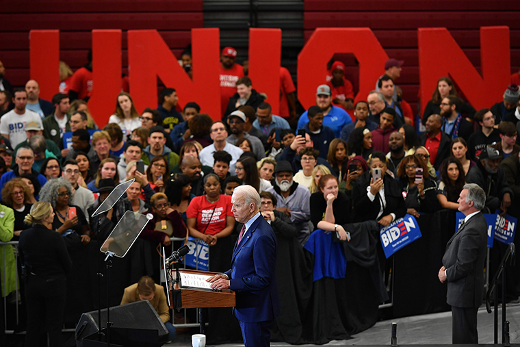 Biden speaks during a campaign rally at Renaissance High School in Detroit, Michigan on Monday, March 9.