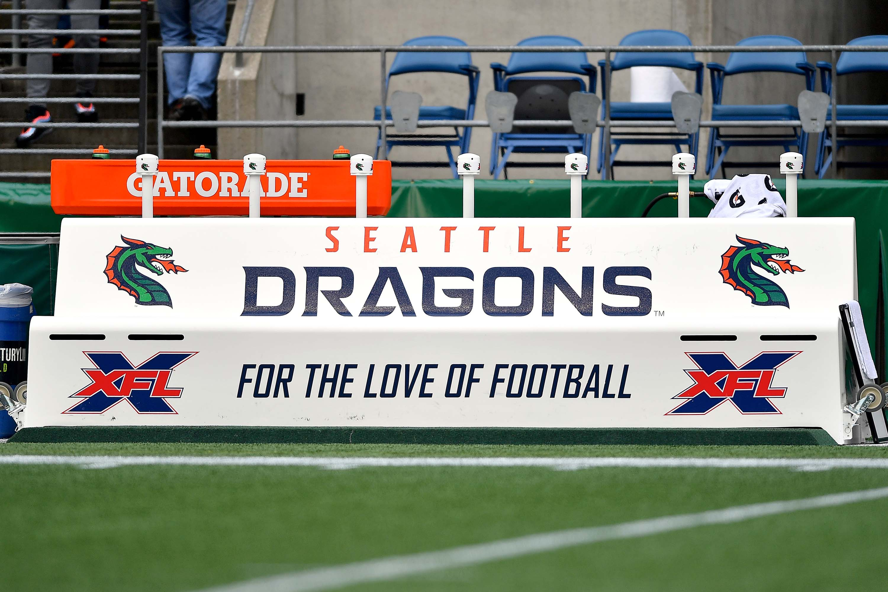 A general view of the Seattle Dragons team bench ahead of the game between the Seattle Dragons and the Dallas Renegades at CenturyLink Field in Seattle, Washington, on February 22.