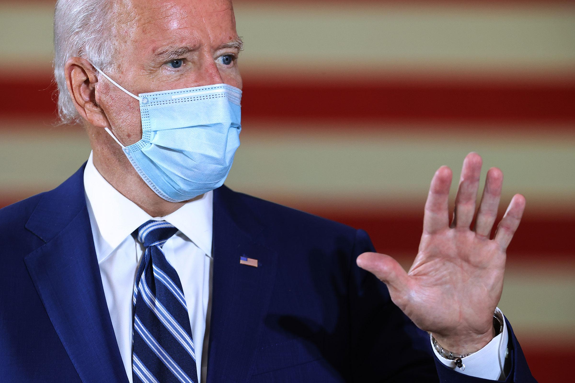 Joe Biden speaks at Southwest Focal Point Community Center on October 13 in Pembroke Pines, Florida.