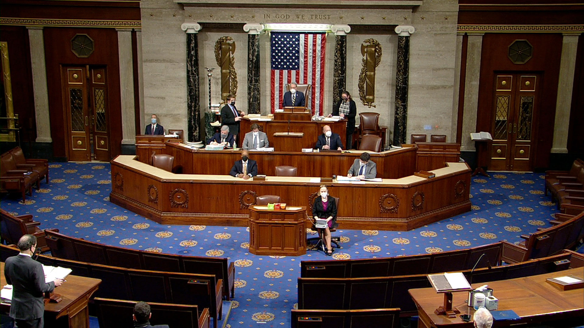A view of the House floor on January 12, prior to the introduction of a resolution calling for Vice President Mike Pence to invoke the 25th Amendement.