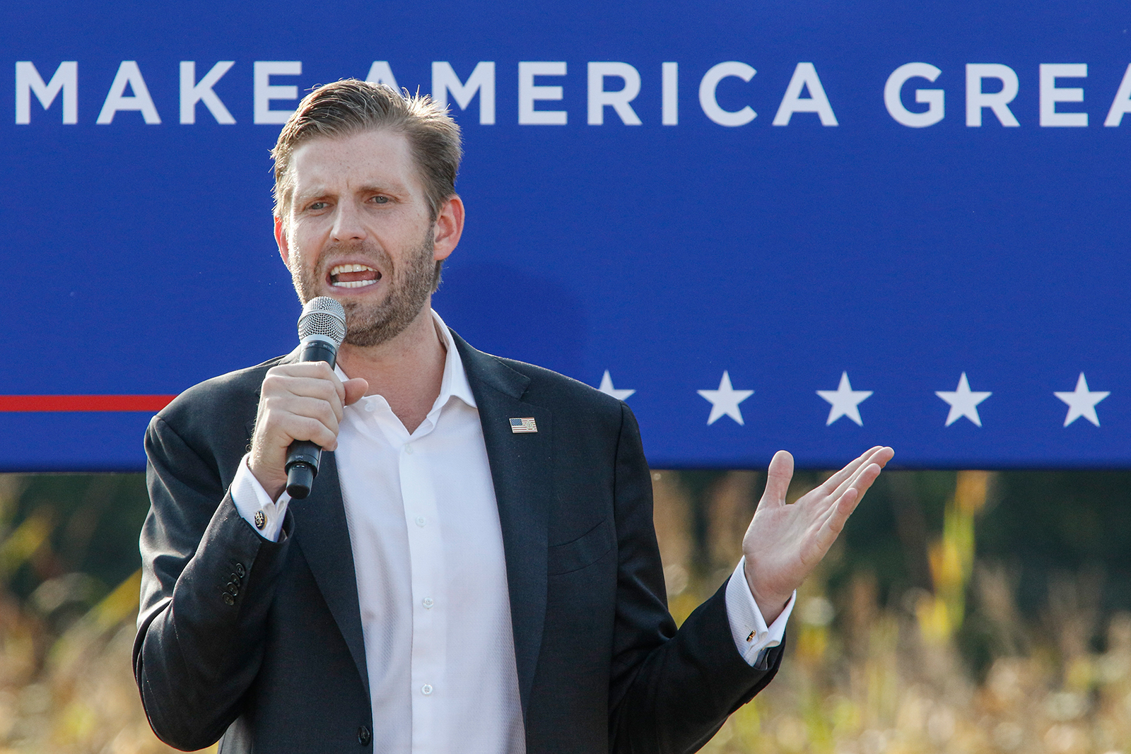 Eric Trump speaks at a campaign rally for his father, President Donald Trump, in Monroe, North Carolina, on October 8.