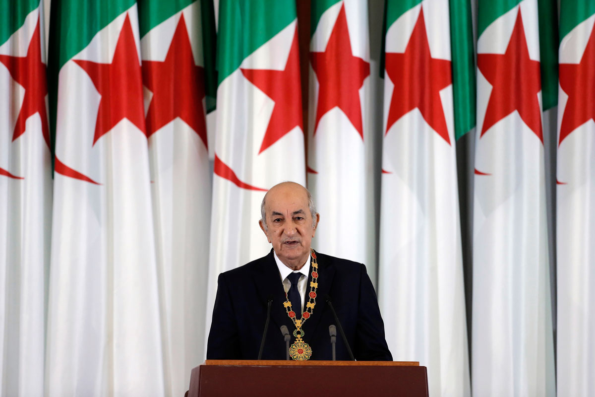 In this December 19, 2019 file photo, Algerian president Abdelmadjid Tebboune delivers a speech during an inauguration ceremony at the presidential palace in Algiers, Algeria.