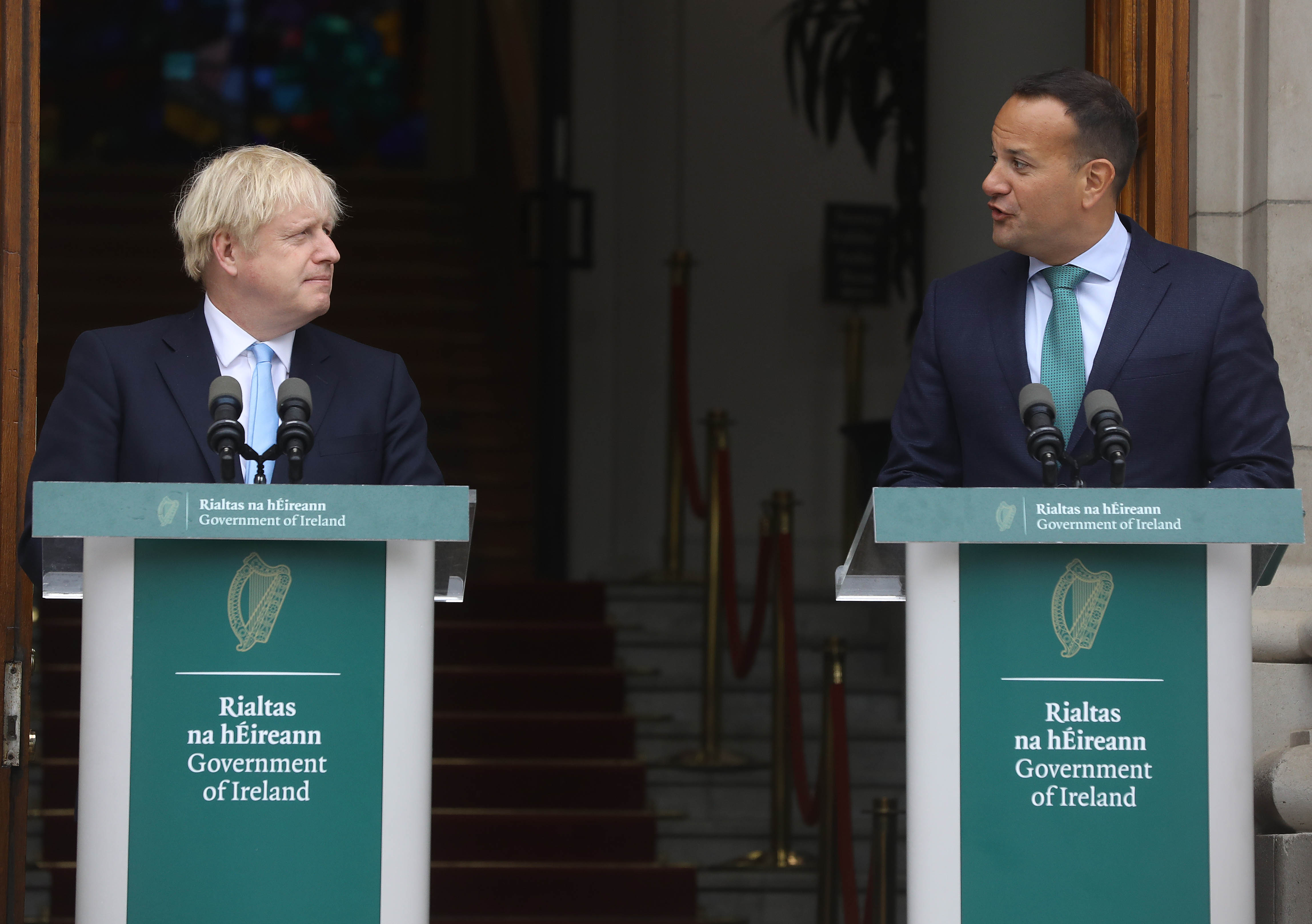 Irish Prime Minister Leo Varadkar speaking with Britain's Prime Minister Boris Johnson earlier in a a joint press conference.