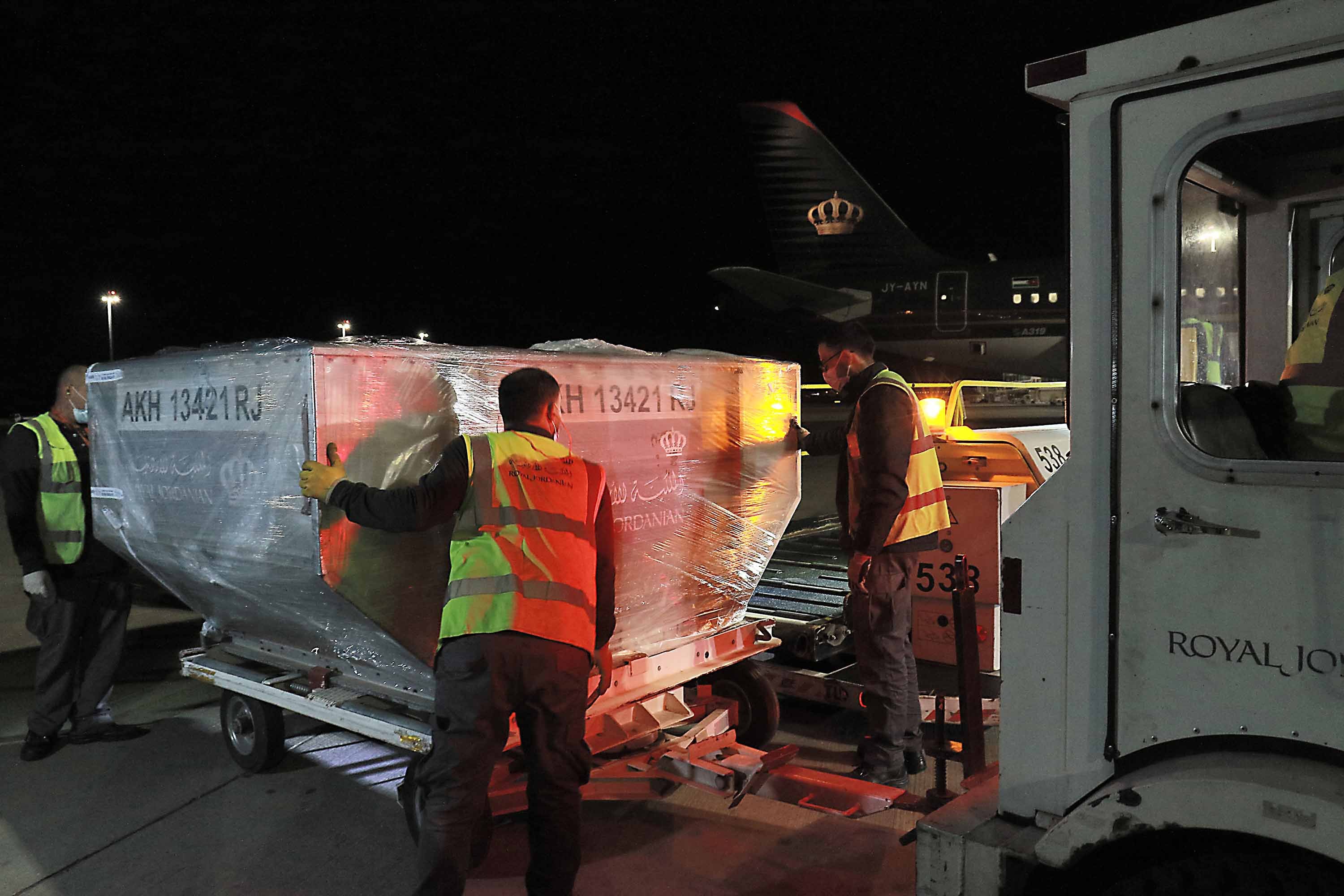 The first batch of the Pfizer-BioNTech vaccine arrives at Jordan's Queen Alia international airport in Amman on January 11.