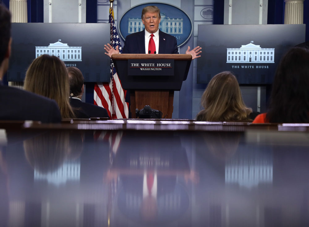 President Donald Trump speaks during the daily briefing of the White House Coronavirus Task Force at the James Brady Press Briefing Room of the White House on April 13 in Washington.