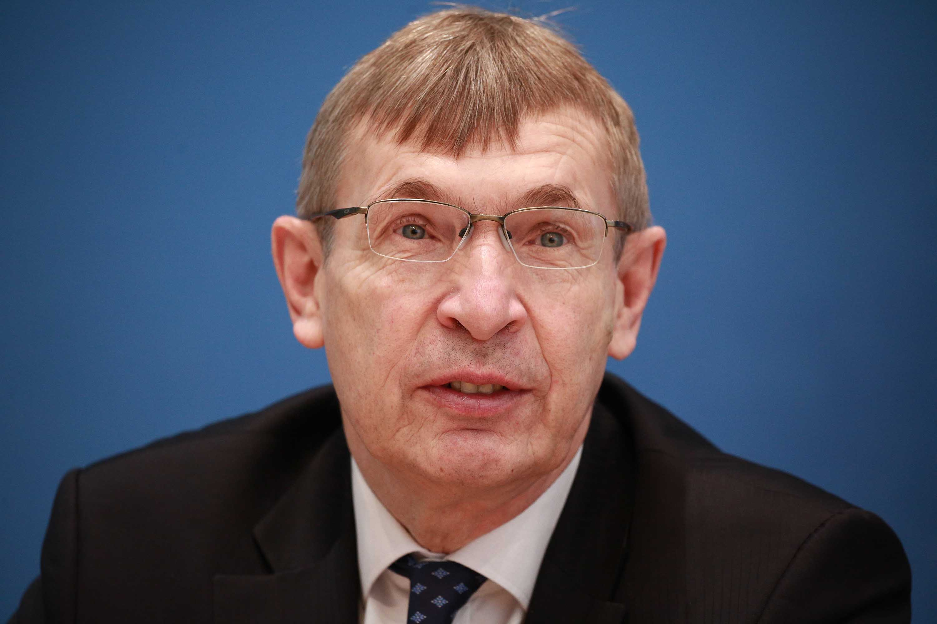 Klaus Cichutek, President of the Paul Ehrlich Institute, addresses a press conference in Berlin, Germany, on January 29.