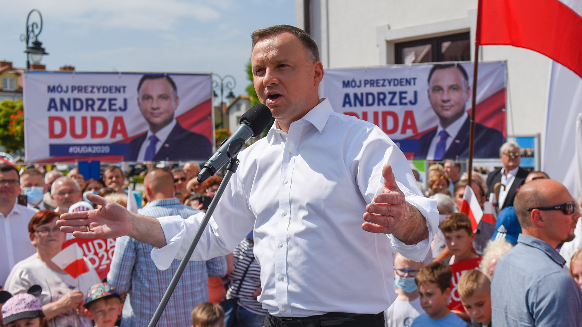 Polish President Andrzej Duda delivers a speech for locals and supporters during a presidential campaign ahead of the rescheduled Presidential Elections on June 17 in Serock, Poland.