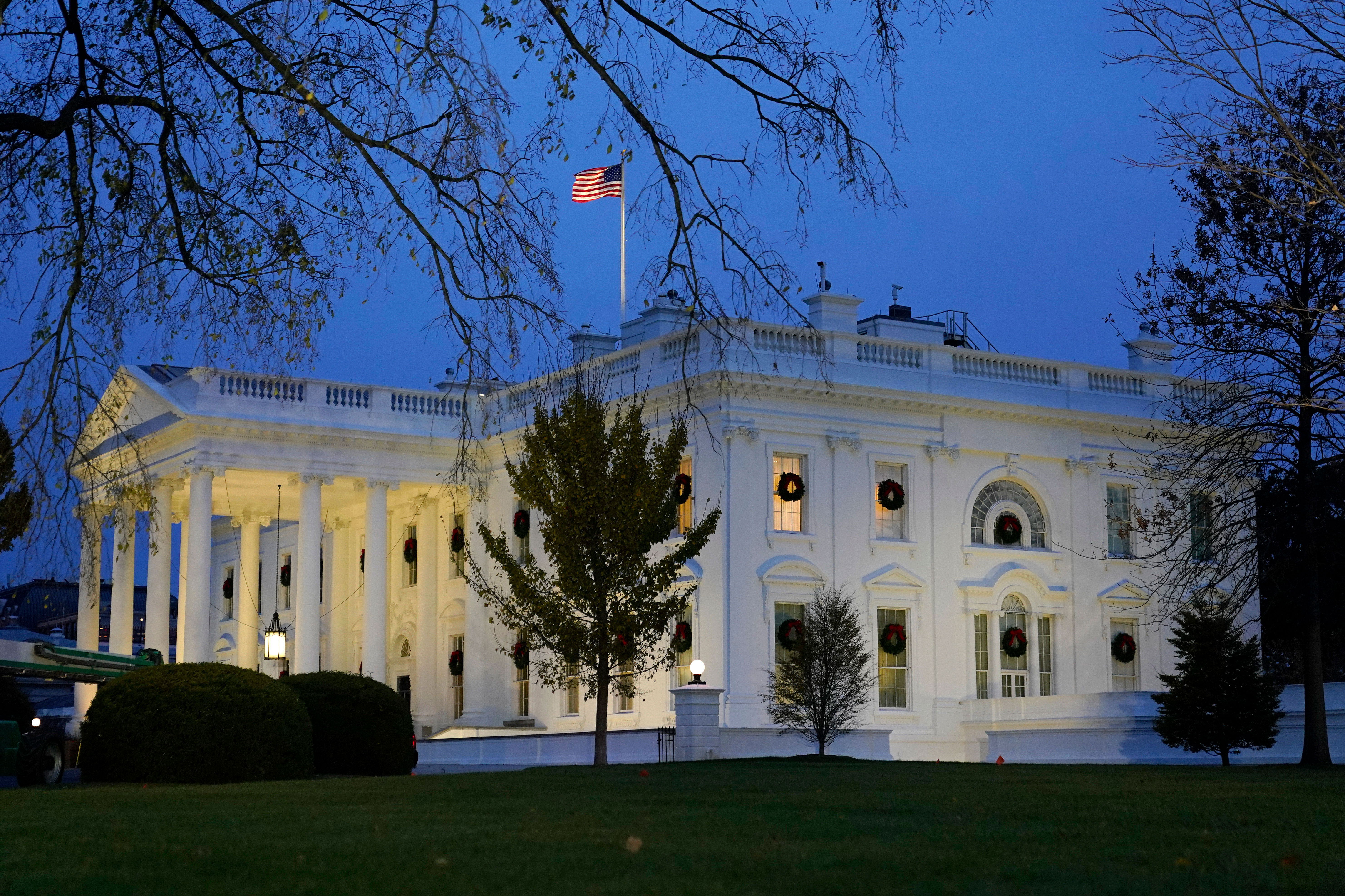 The White House is pictured at dusk on November 25.