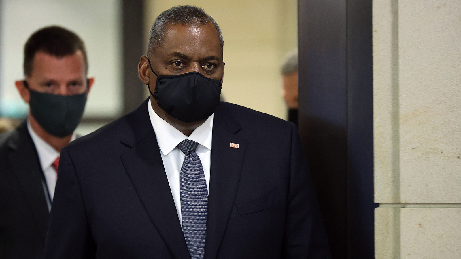 US Secretary of Defense Lloyd Austin arrives at the US Capitol before briefing members of the House of Representatives on August 24 in Washington, DC.