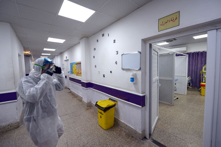 Outside the quarantine zone at the hospital in central Najaf where the first case of coronavirus documented in Iraq is being treated on February 24.