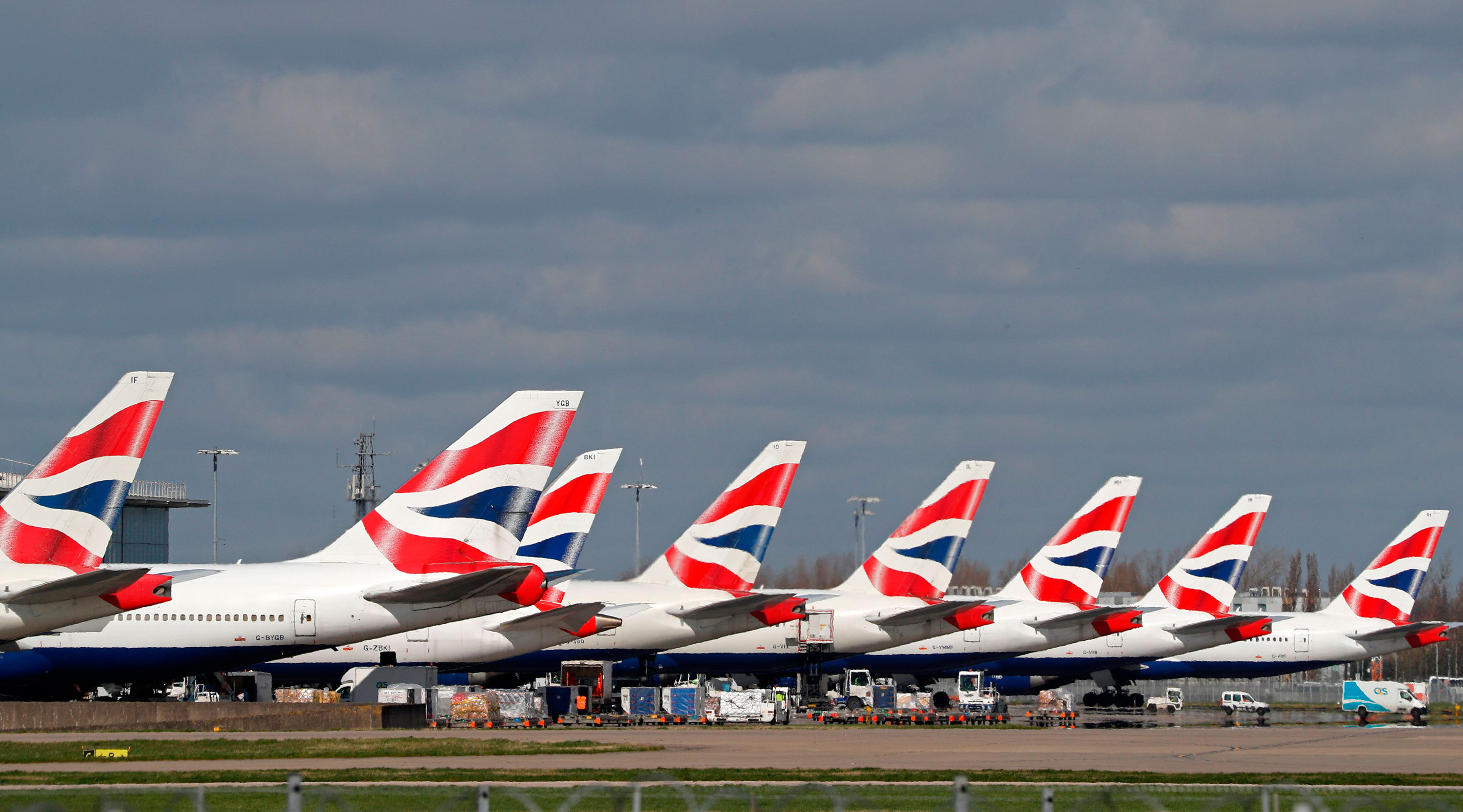 British Airways planes sit grounded at Heathrow airport in London on March 16.
