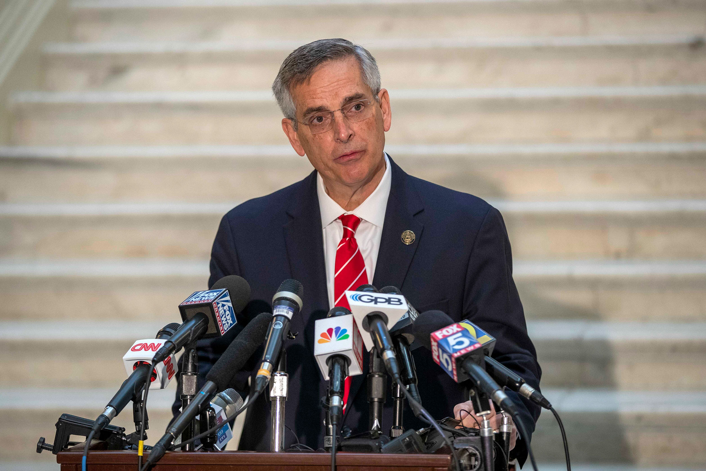 Georgia Secretary of State Brad Raffensperger makes remarks during a press conference in Atlanta, on Wednesday, December 2.