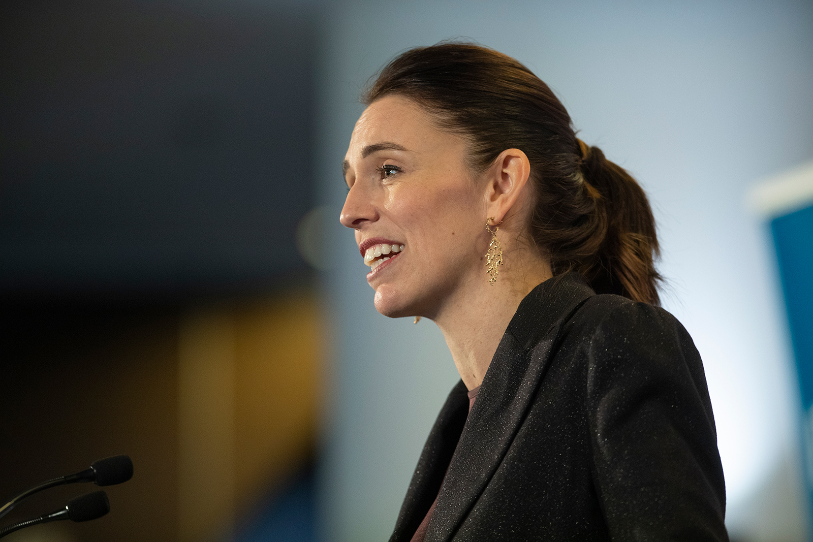 New Zealand Prime Minister Jacinda Ardern addresses business leaders who gathered for the Business NZ pre budget lunch in Auckland, New Zealand, on May 13.