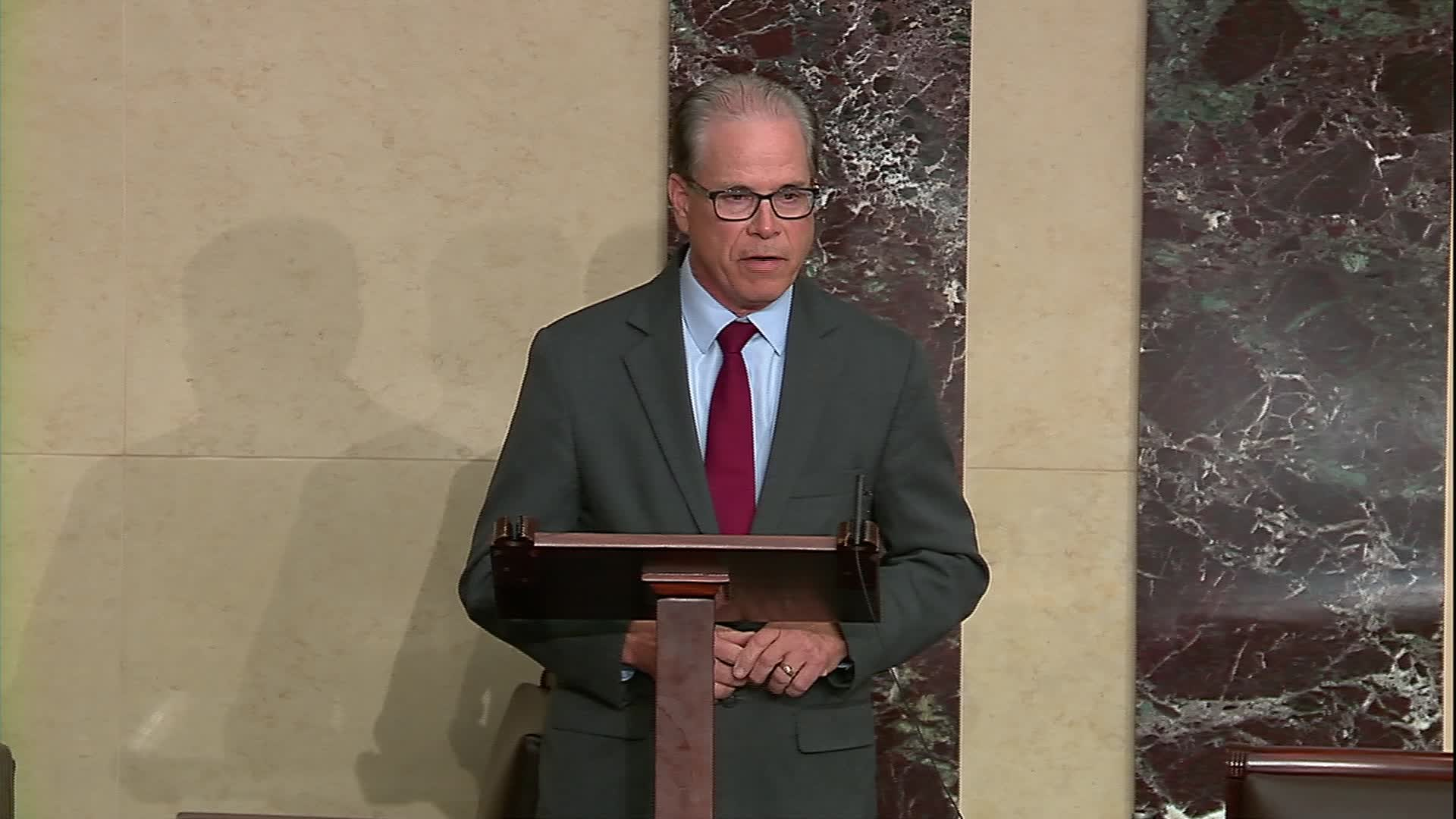 Senator Mike Braun, a Republican from Indiana, speaks on the Senate Floor in Washington on May 13.