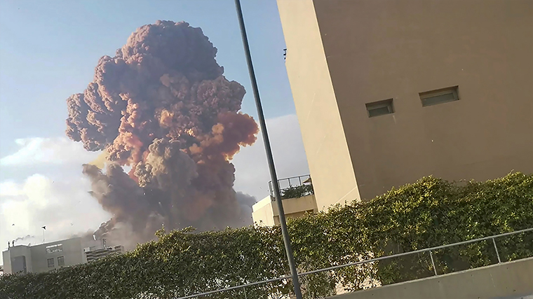 Smoke rises after an explosion in Beirut, Lebanon August 4, 2020, in this picture obtained from a social media video.