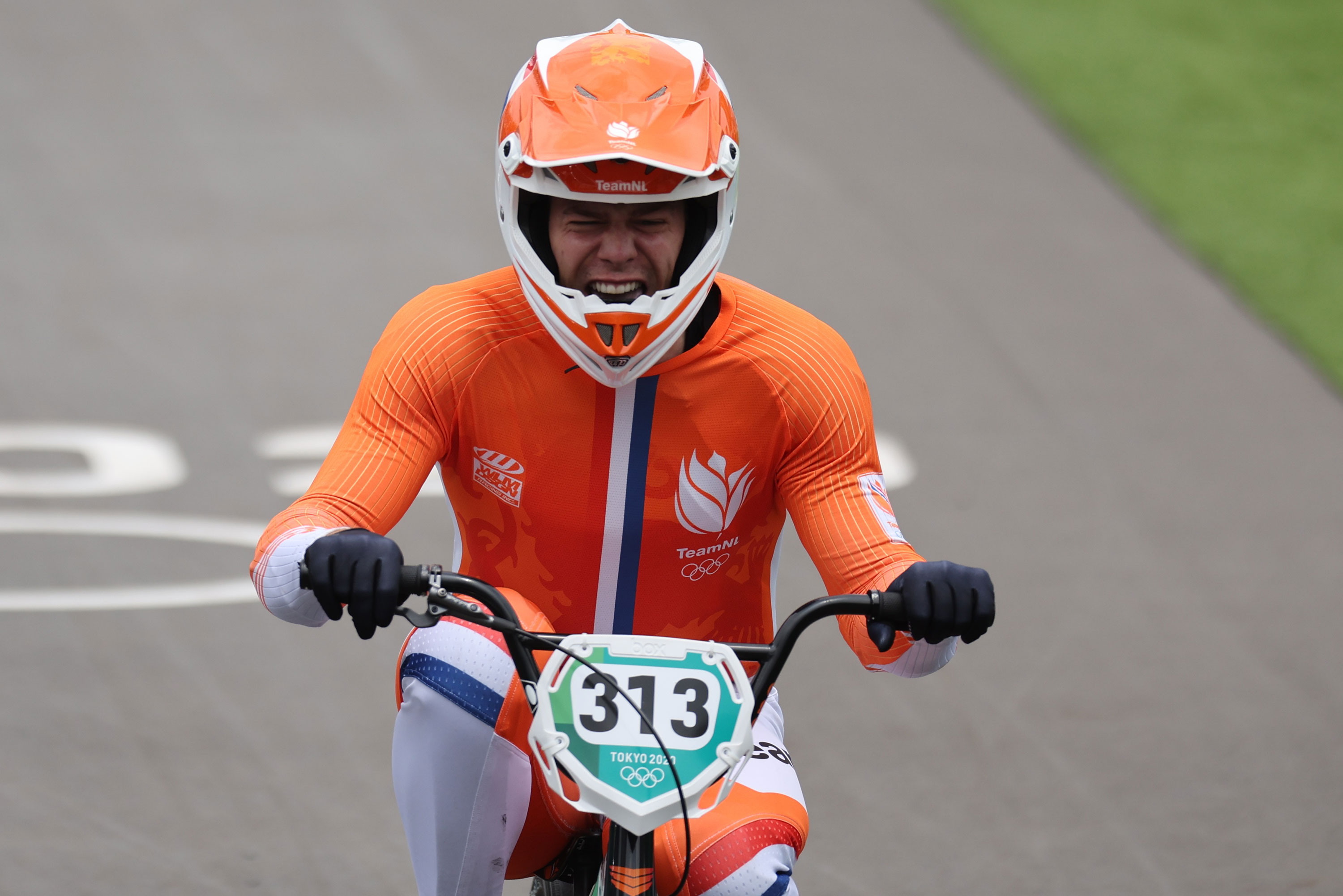 Niek Kimmann of the Netherlands celebrates after winning gold in the BMX individual.