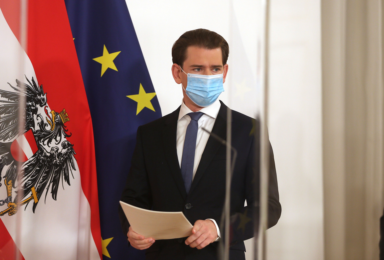 Austrian Chancellor Sebastian Kurz wears a face mask prior to announcing a second national lockdown in Vienna, Austria, on November 14.