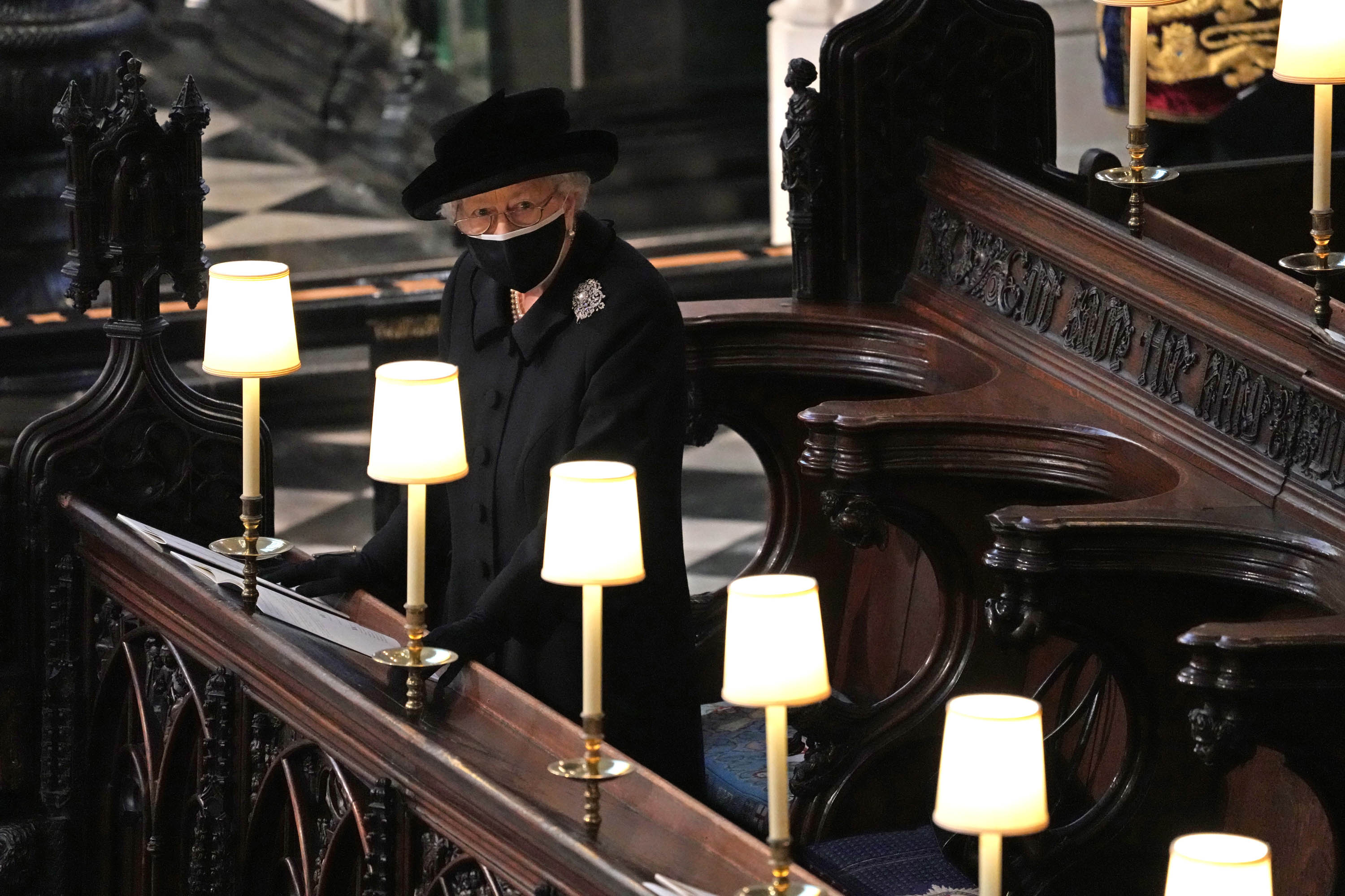 Queen Elizabeth II is pictured during the funeral of her husband, Prince Philip, the Duke of Edinburgh, in St. George's Chapel at Windsor Castle, on Saturday, April 17.