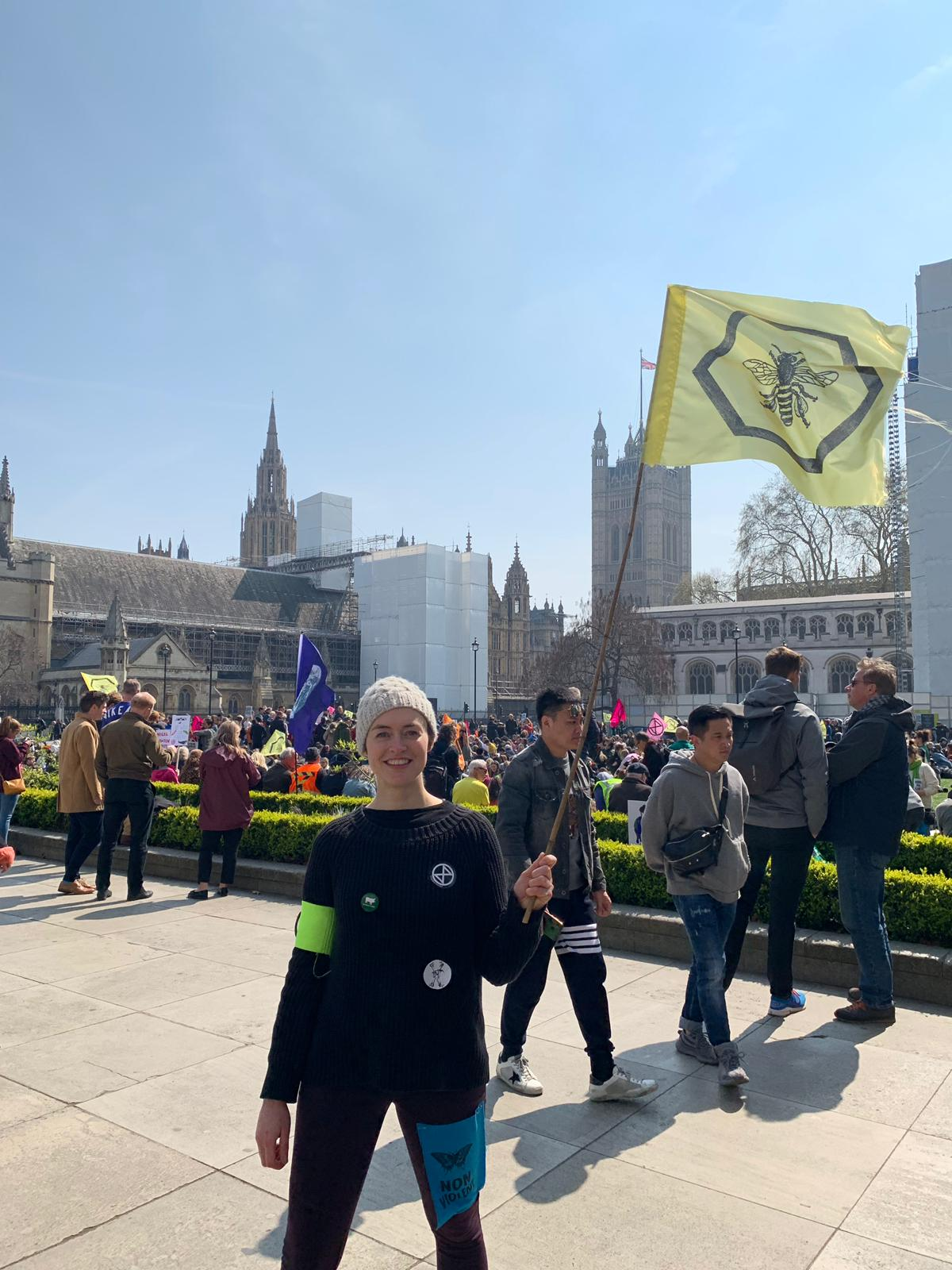 Andrea Cox, a careers consultant from London, holds a bumblebee flag outside the Houses of Parliament.