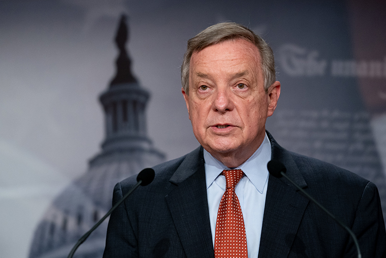 Sen. Dick Durbin (D-IL) speaks during a news conference at the U.S. Capitol on March 23, 2021 in Washington, DC.