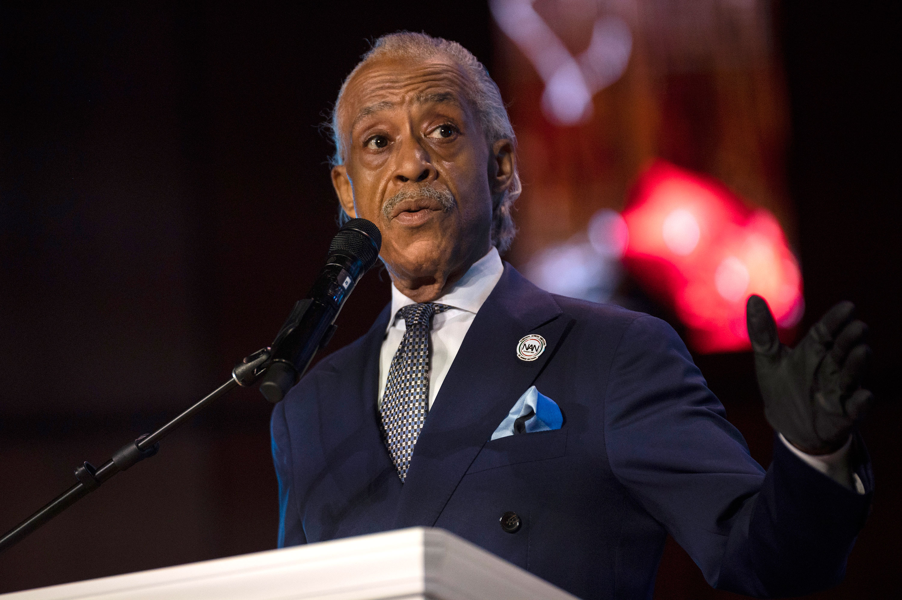 Rev. Al Sharpton speaks at a memorial service for George Floyd on June 4 in Minneapolis, Minnesota.