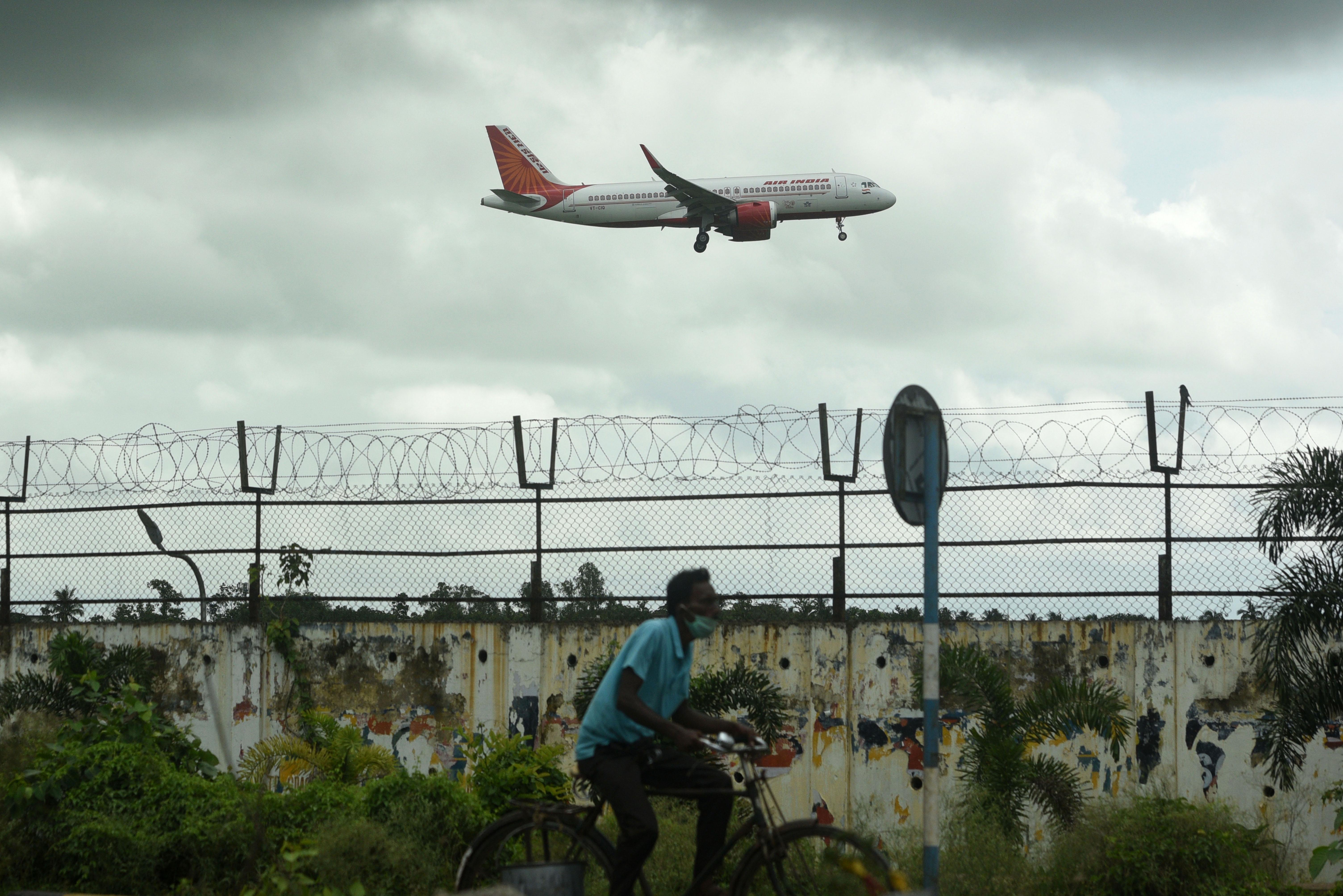 An airplane takes off from Netaji Subhas Chandra Bose International Airport in Kolkata, India, on July 5.