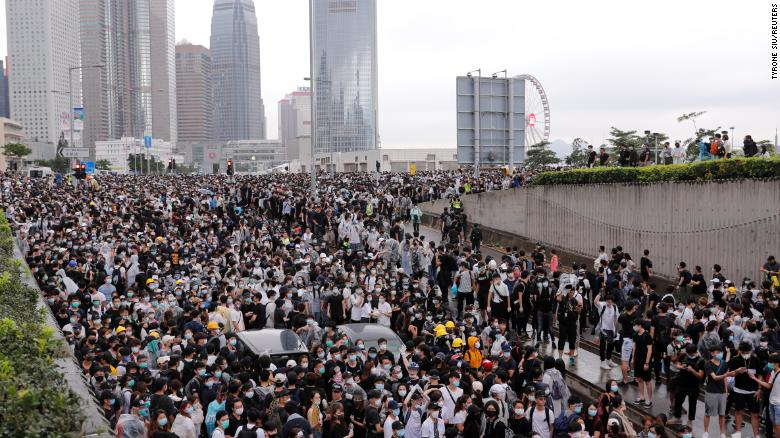 Protesters rally against a proposed extradition bill in Hong Kong.