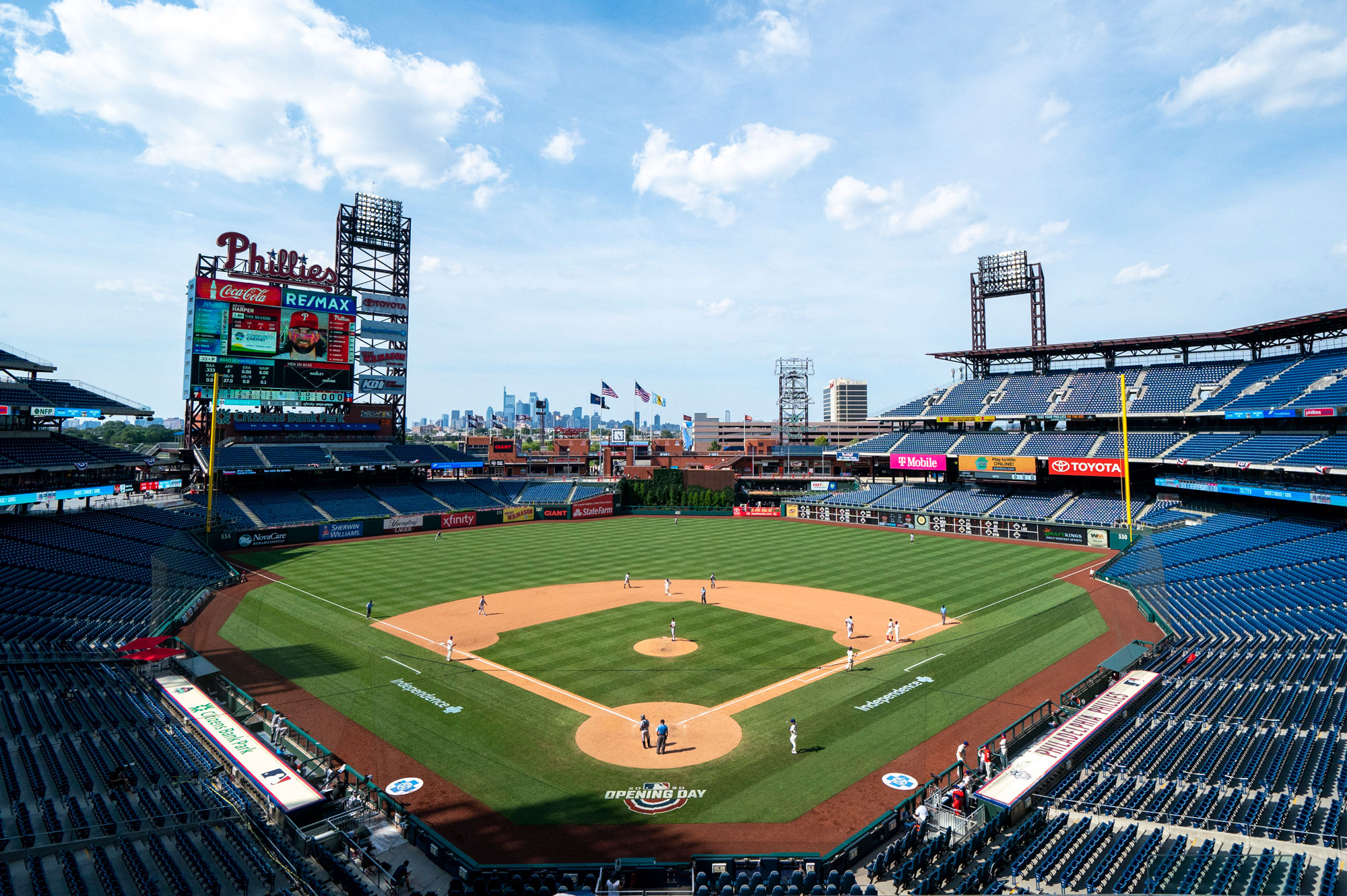 The Miami Marlins and the Philadelphia Phillies face off during a game at Citizens Bank Park on July 26 in Philadelphia.