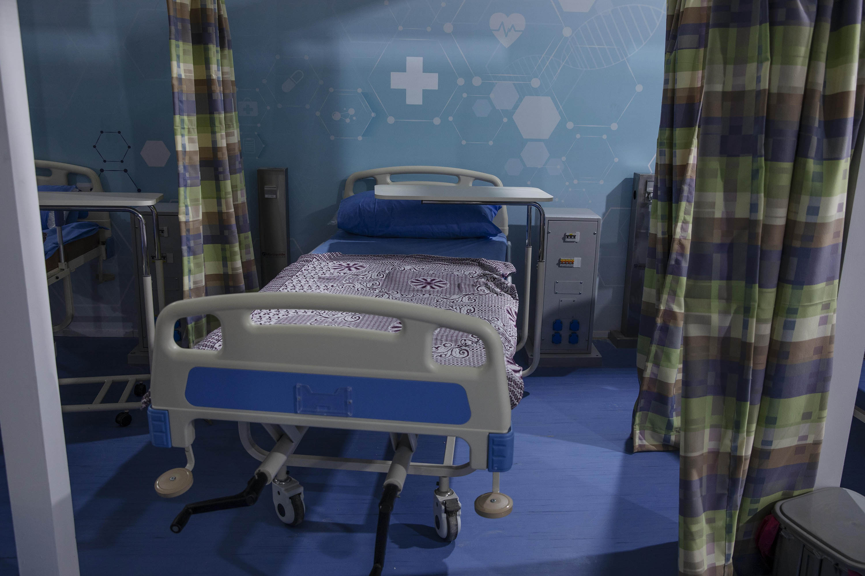Hospital beds are prepared to receive COVID-19 patients at a field hospital in Cairo, Egypt, on June 17.