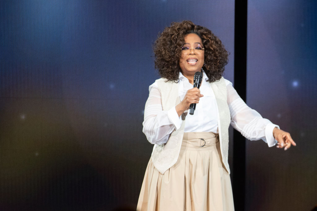 Oprah Winfrey speaks on tour on March 7 in Denver, Colorado.