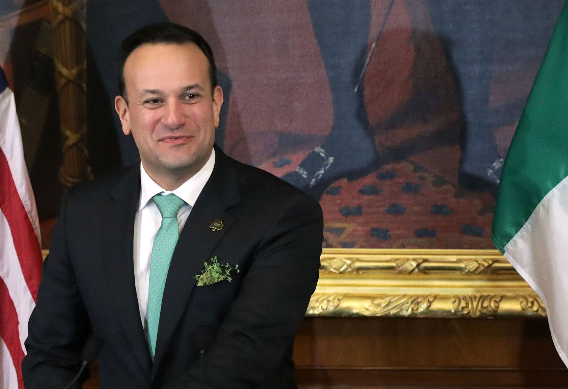 Irish Taoiseach Leo Varadkar speaks during the annual Friends of Ireland luncheon at the US Capitol on March 12 in Washington.