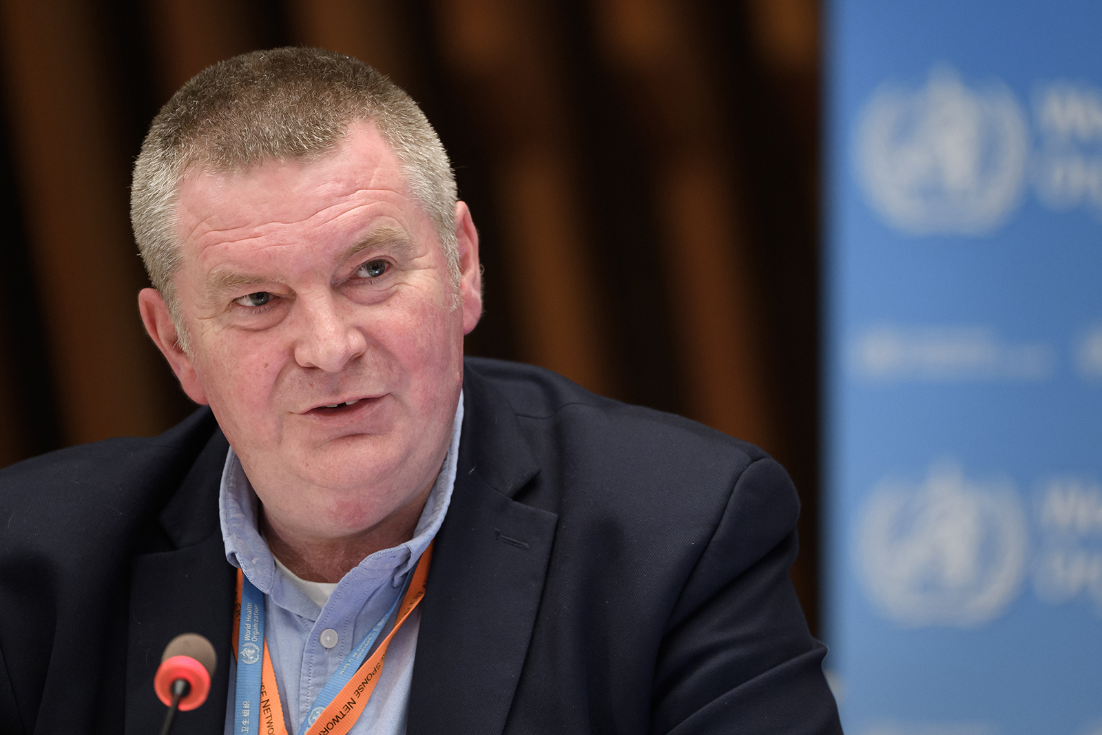 WHO Health Emergencies Programme head Michael Ryan attends a press conference at the WHO headquarters in Geneva on July 3.