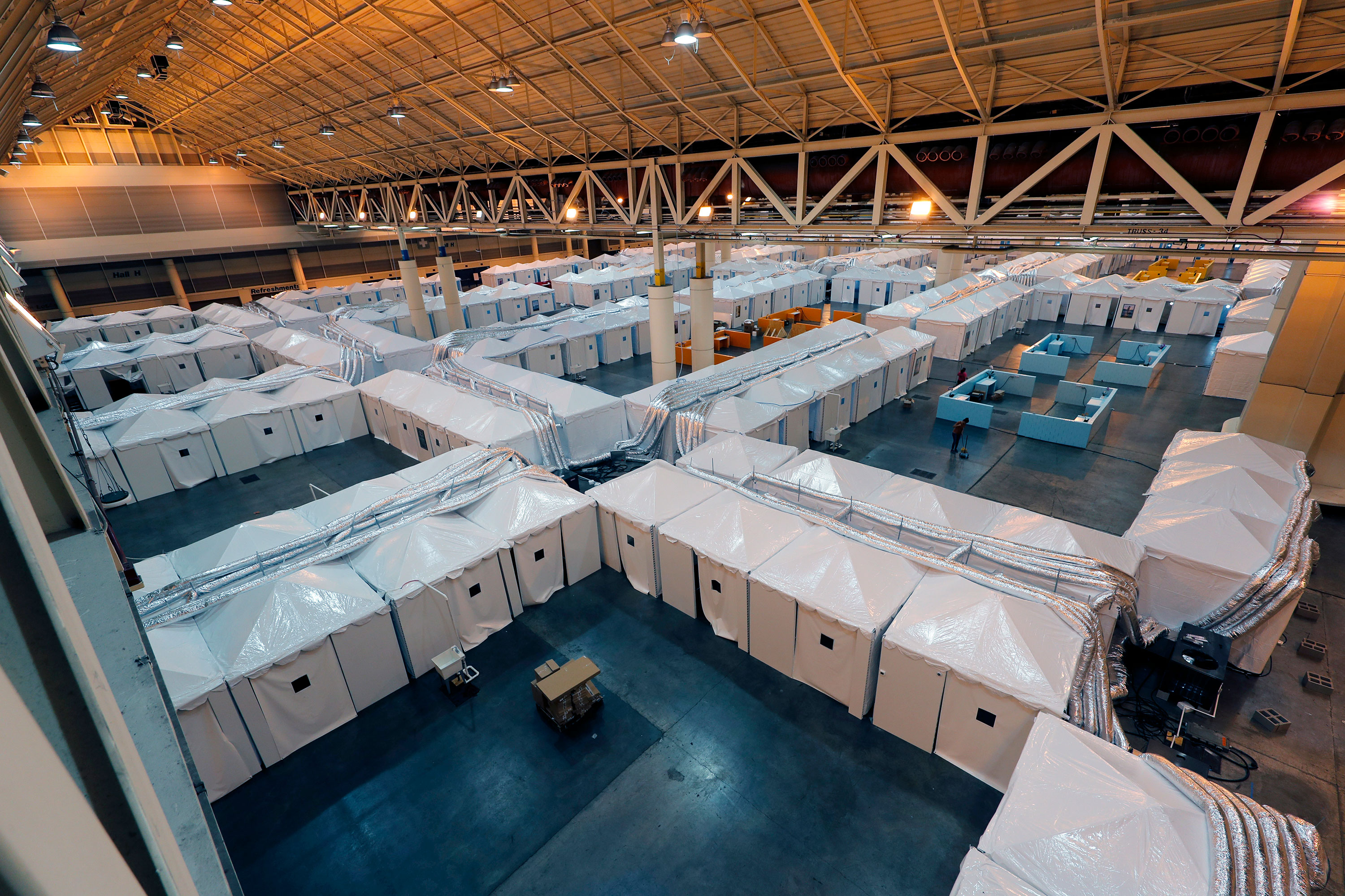 A temporary hospital set up in the Ernest N. Morial Convention Center as overflow for local hospitals in New Orleans is seen on April 4.