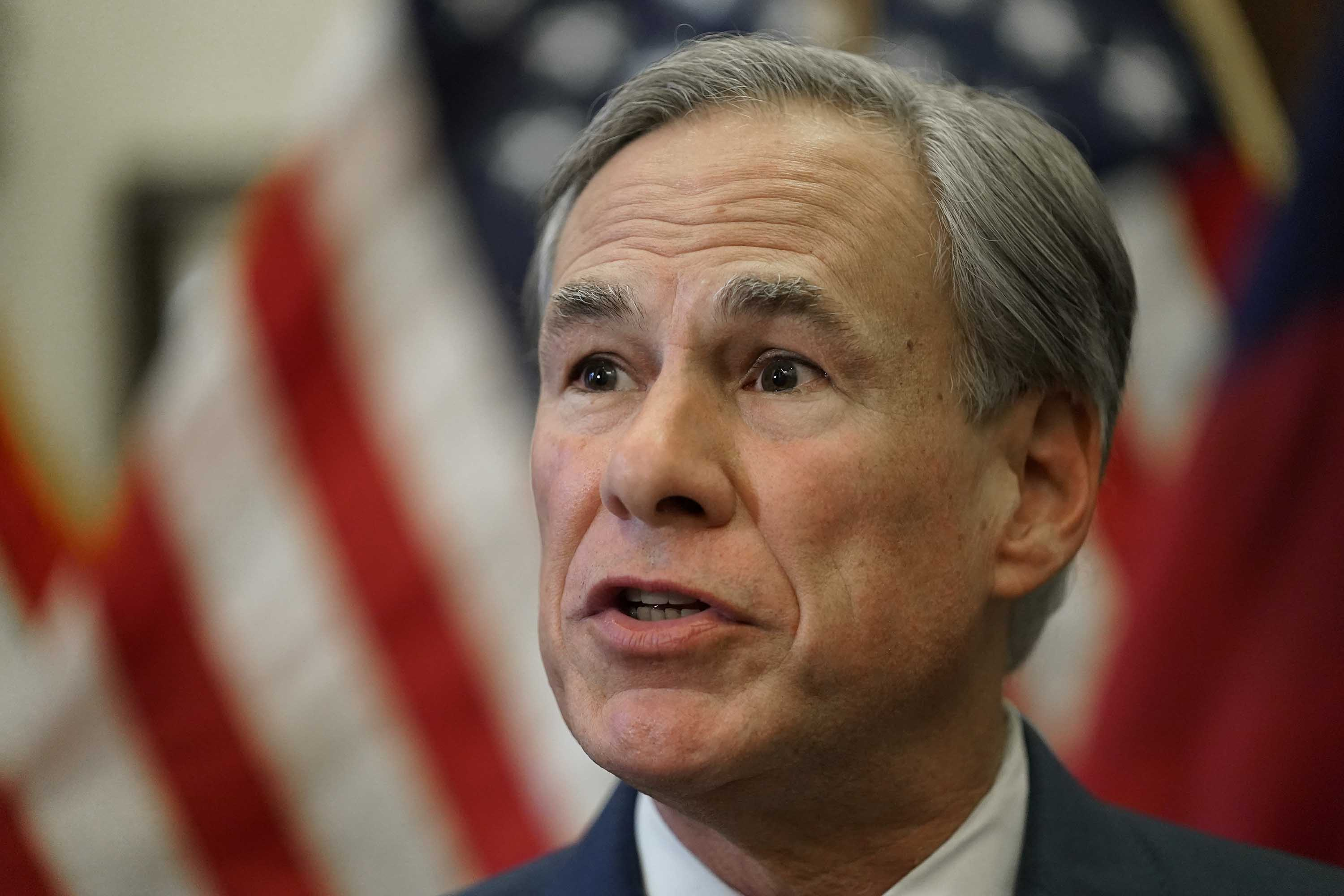 Texas Governor Greg Abbott is pictured speaking at a news conference in Austin, Texas on June 8.