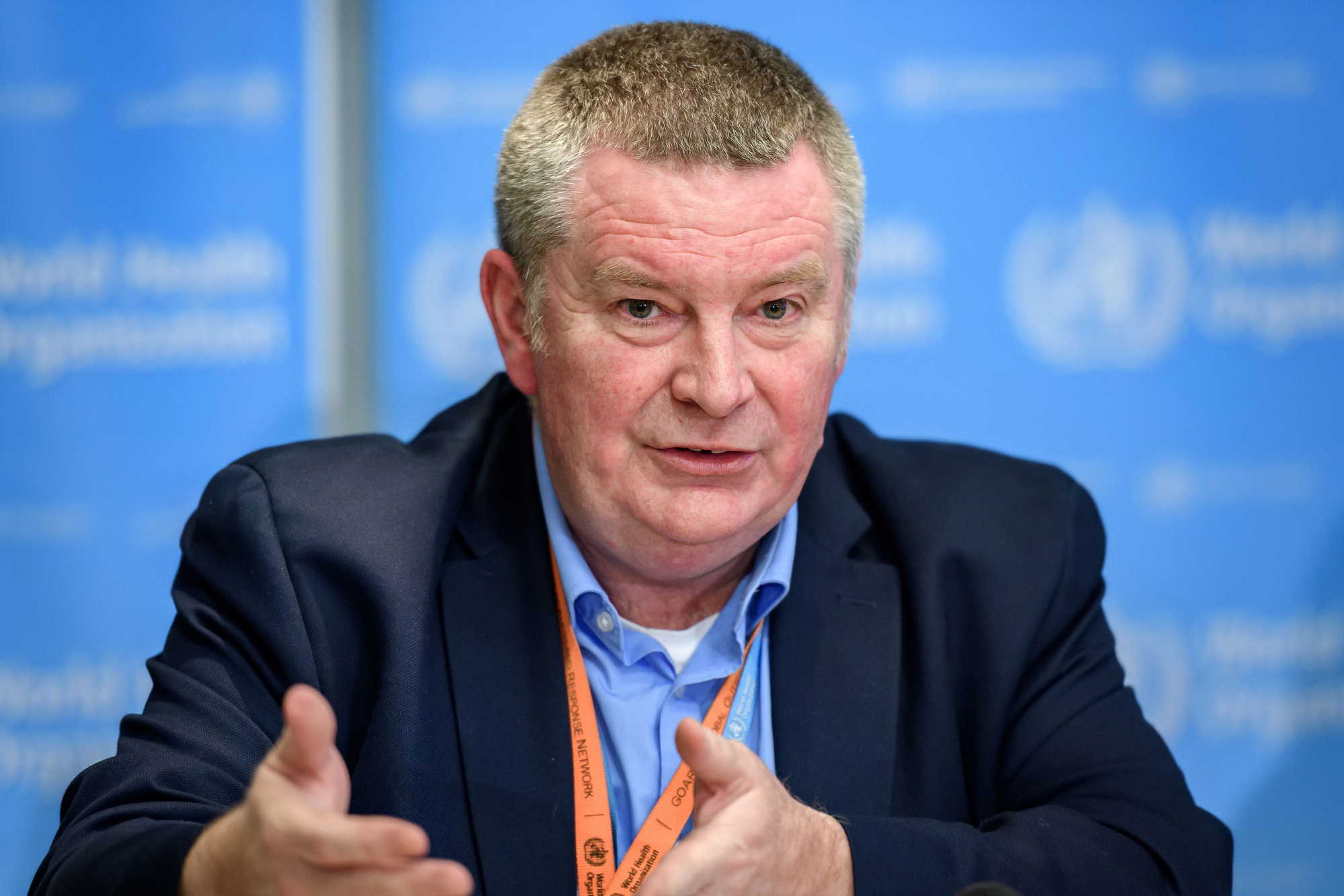 World Health Organization Health Emergencies Programme Director Dr. Michael Ryan speaks during a daily press briefing at the WHO headquarters in Geneva on March 9, 2020.